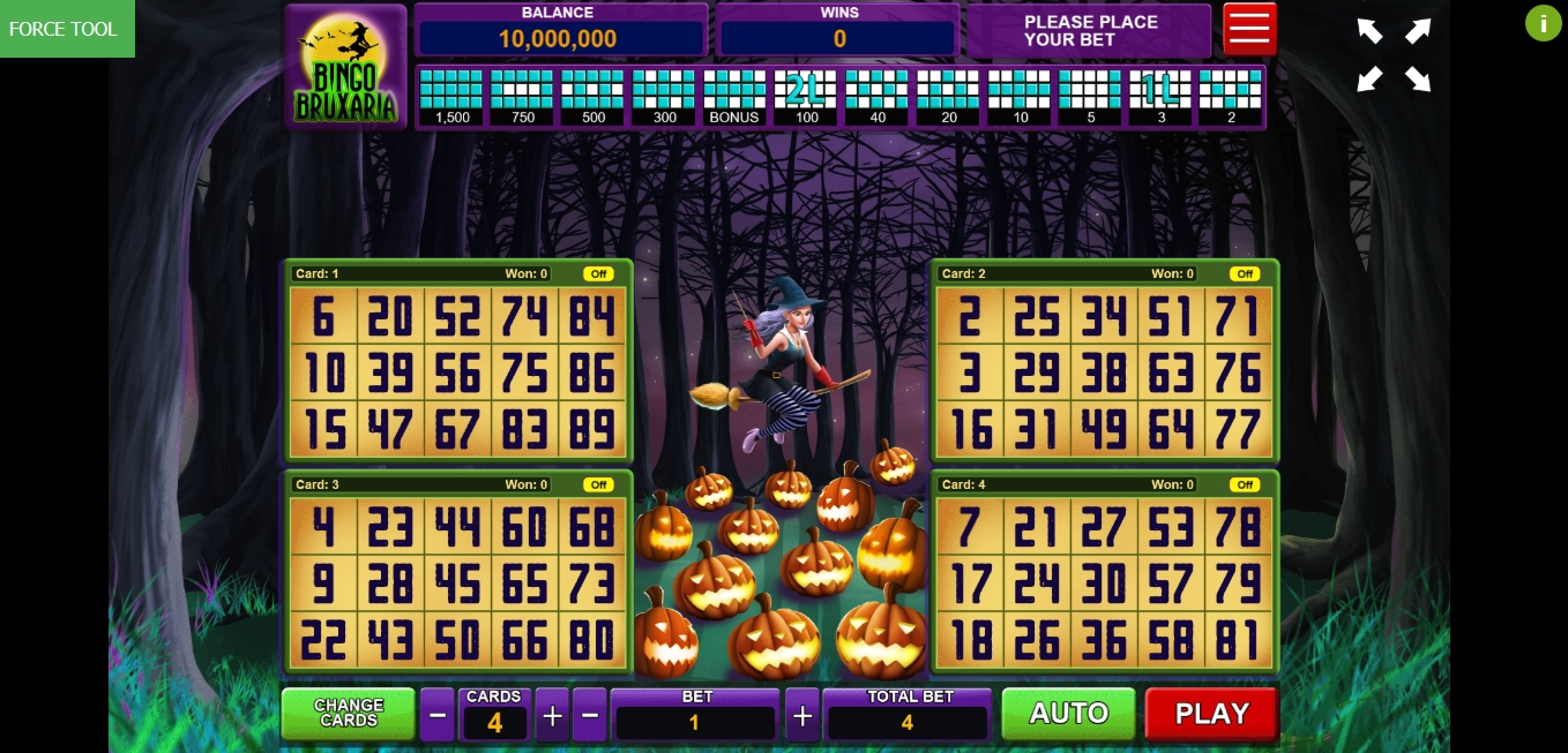 Reels in Bingo Bruxaria Slot Game by Caleta Gaming
