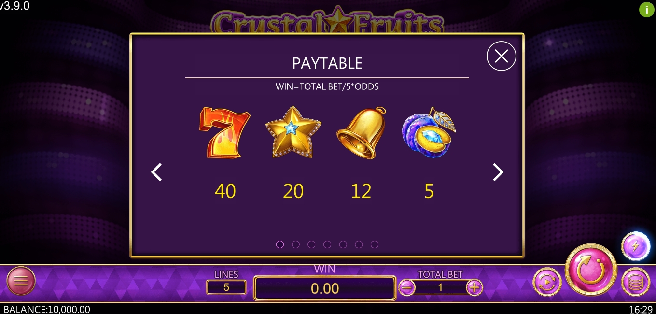 Info of Crystal Fruits (Dragoon Soft) Slot Game by Dragoon Soft