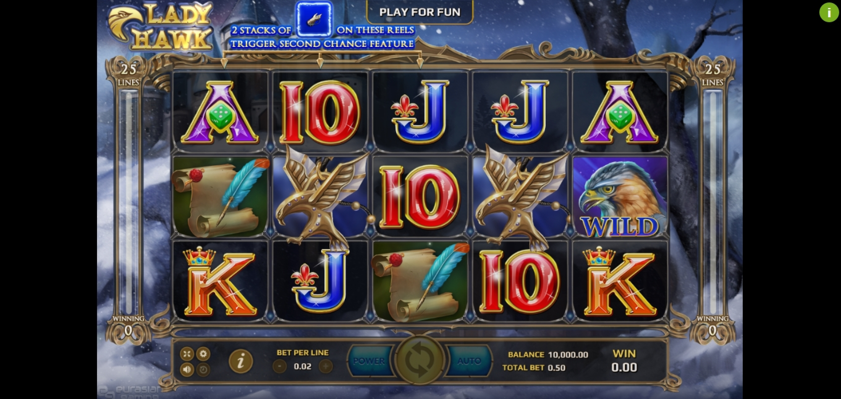 Reels in Lady Hawk Slot Game by EAgaming