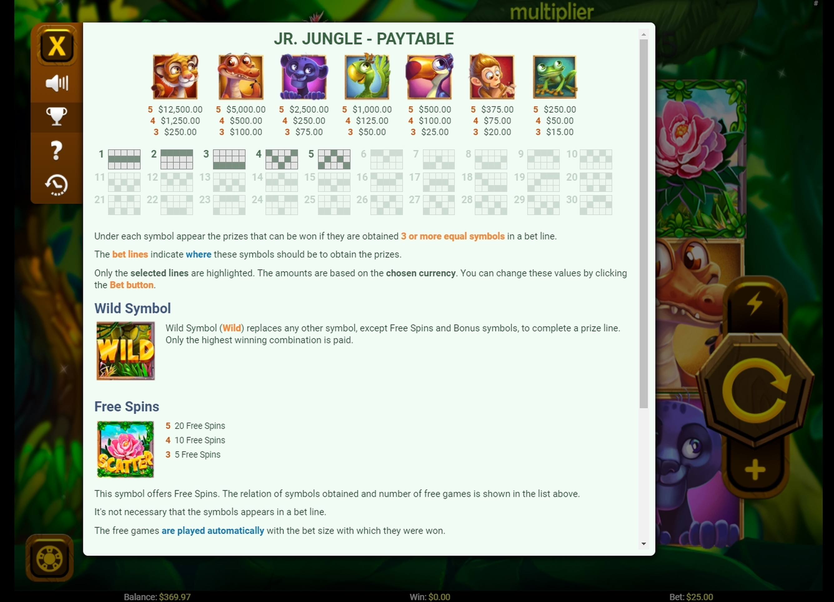 Info of Jr. Jungle Slot Game by Others