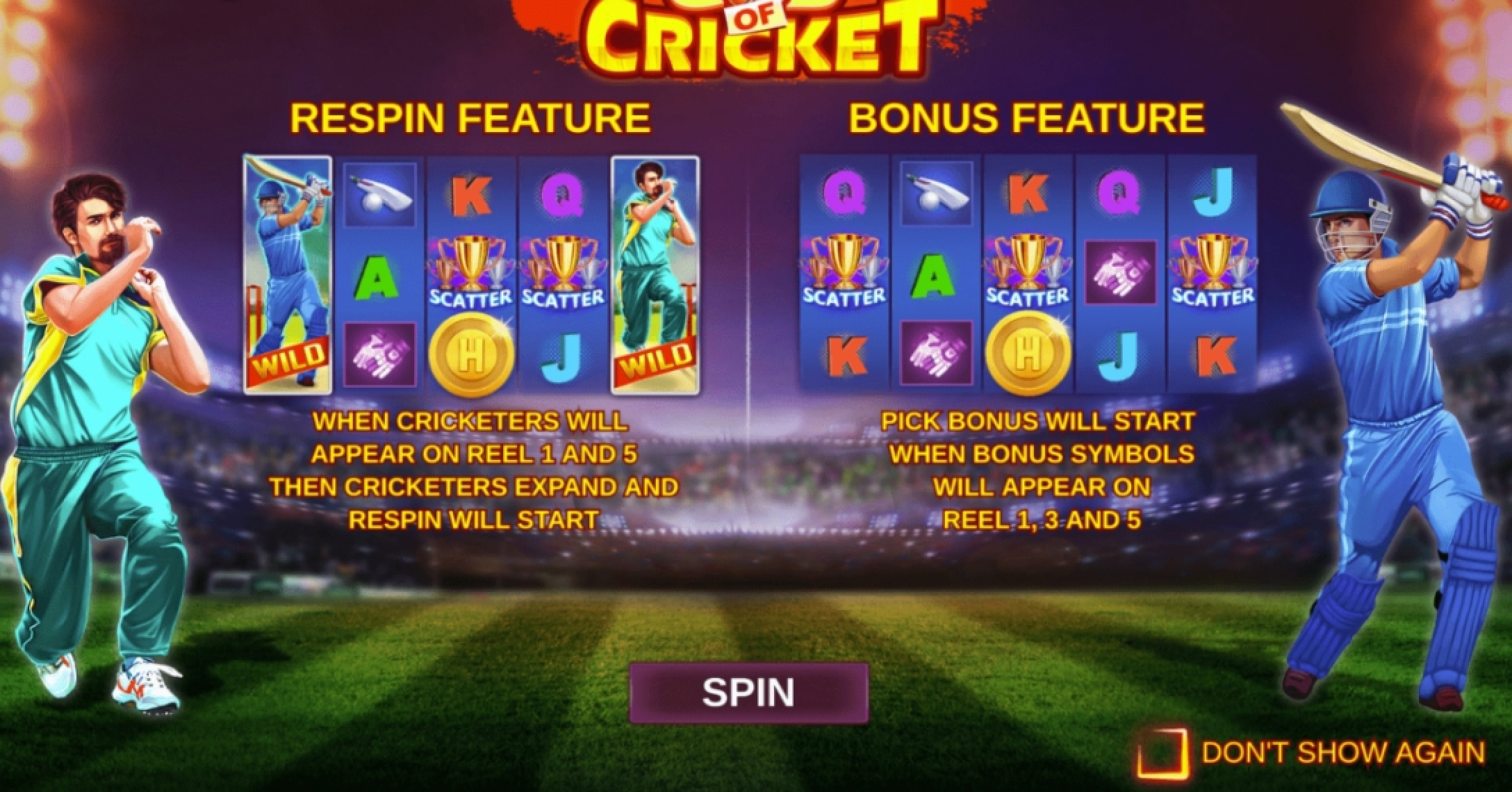 Reels in God of Cricket Slot Game by ReelFeel Gaming