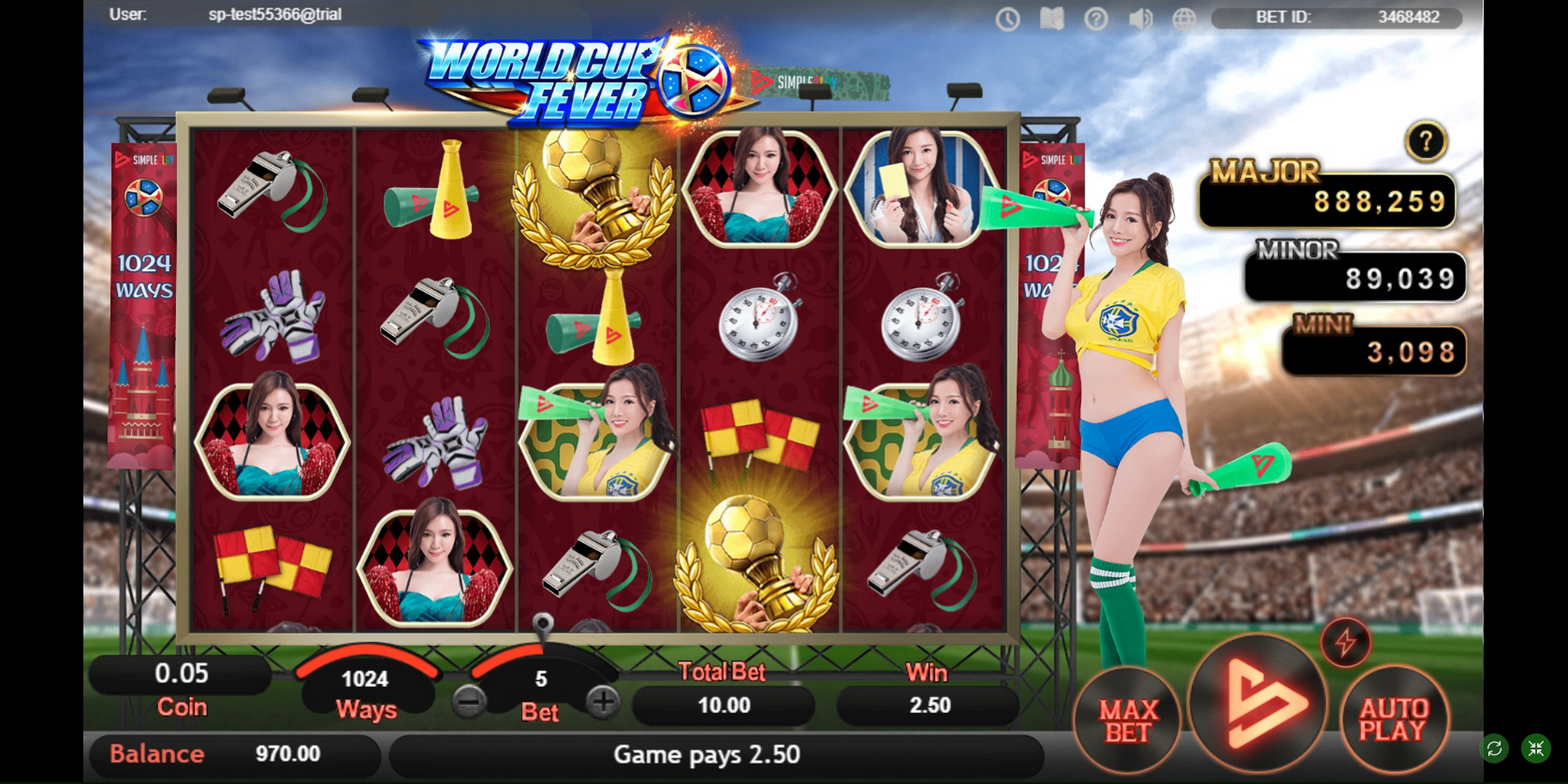 Win Money in World Cup Fever Free Slot Game by SimplePlay