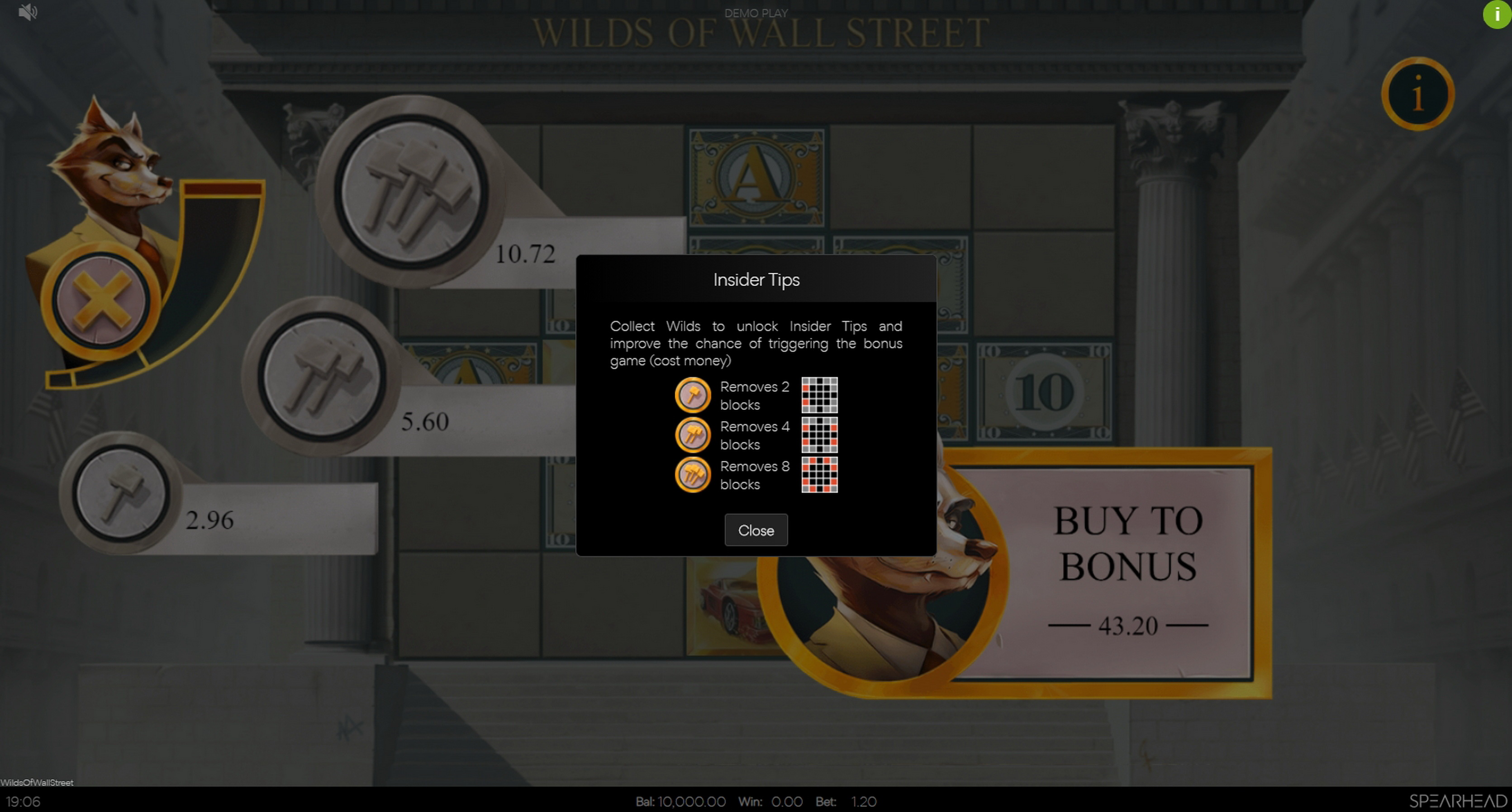 Info of Wilds of Wall Street Slot Game by Spearhead Studios