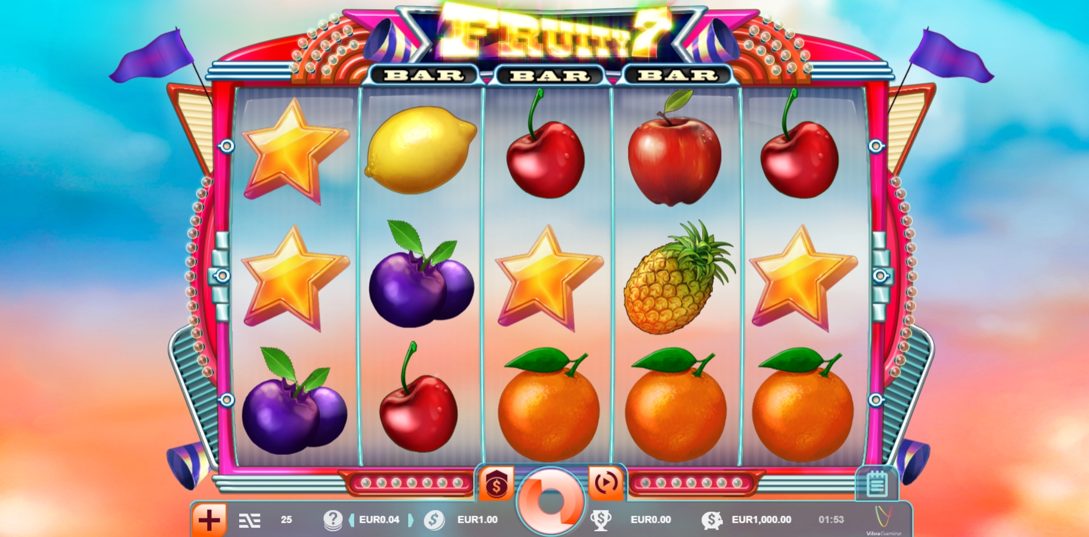 Reels in Fruity 7 Slot Game by Vibra Gaming