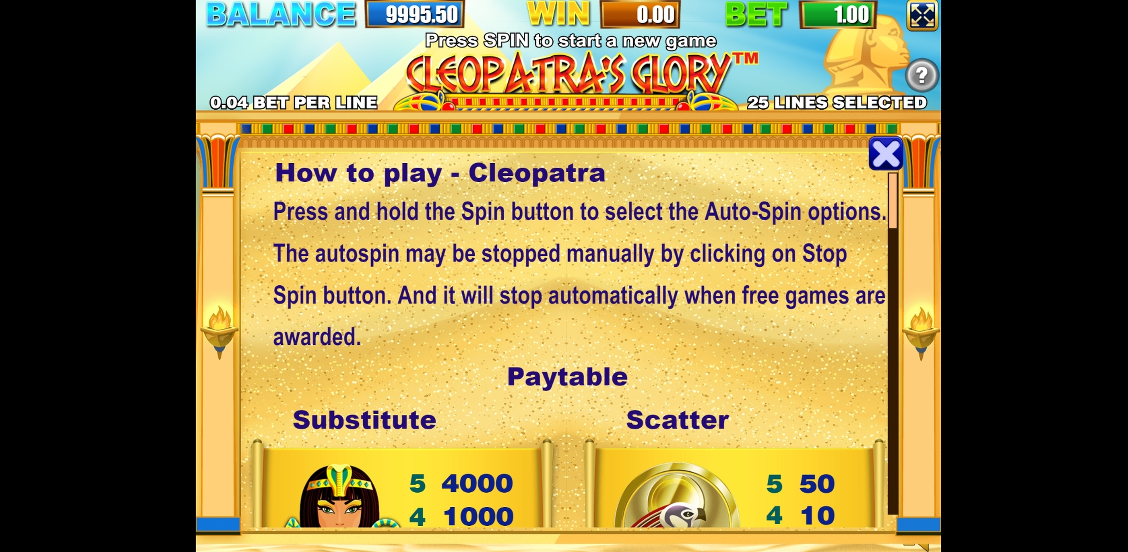 Info of Cleopatras Glory Slot Game by Allbet Gaming