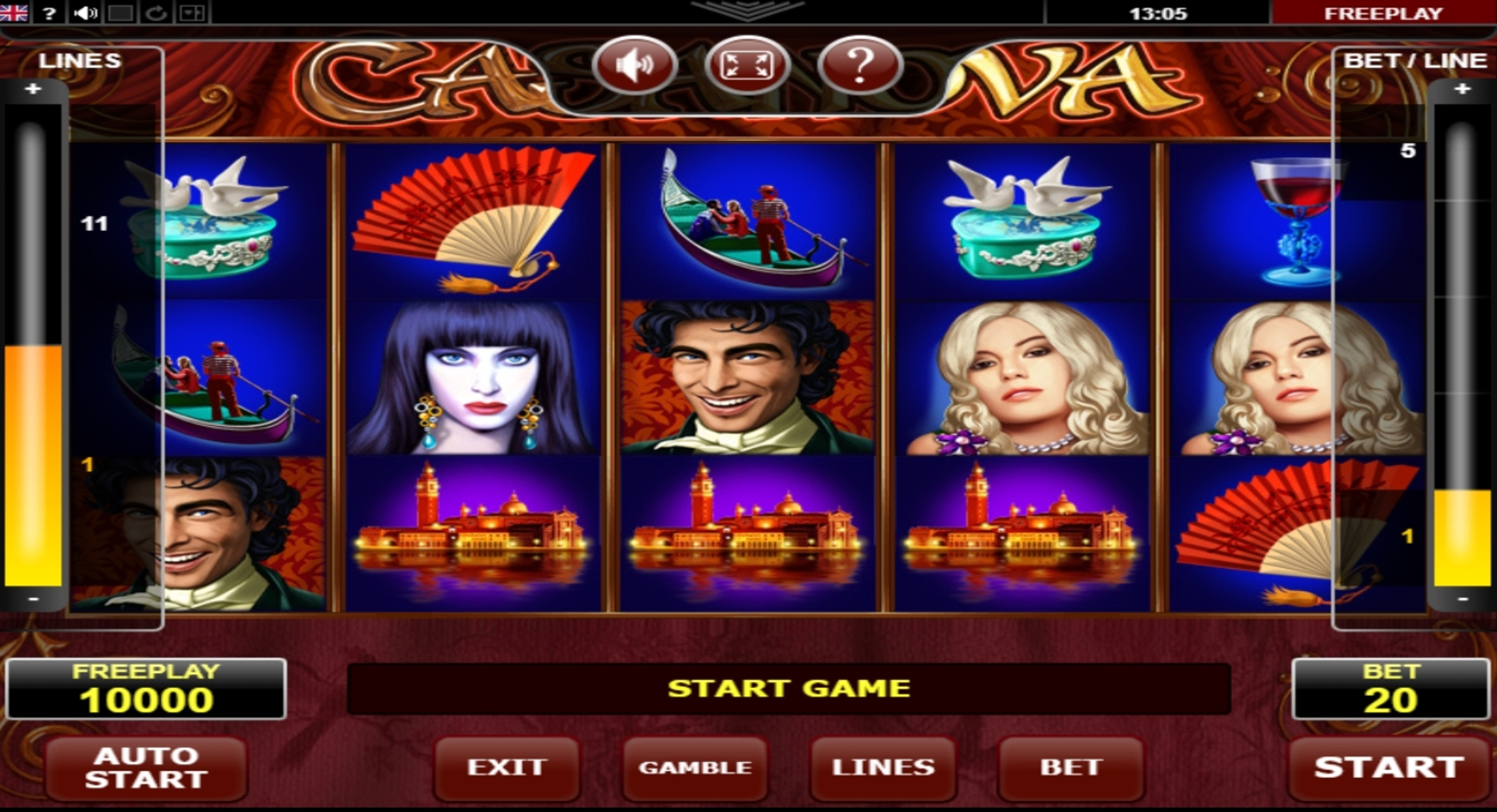 Reels in Casanova Slot Game by Amatic Industries