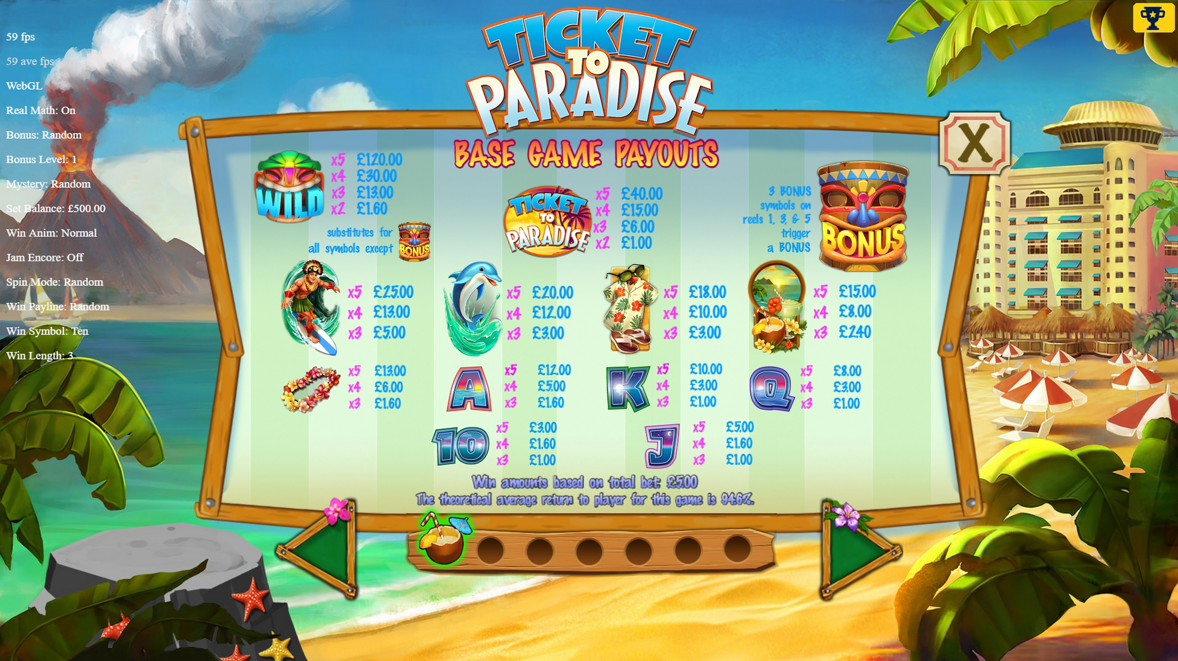Info of Ticket to Paradise Slot Game by Asylum Labs Inc.