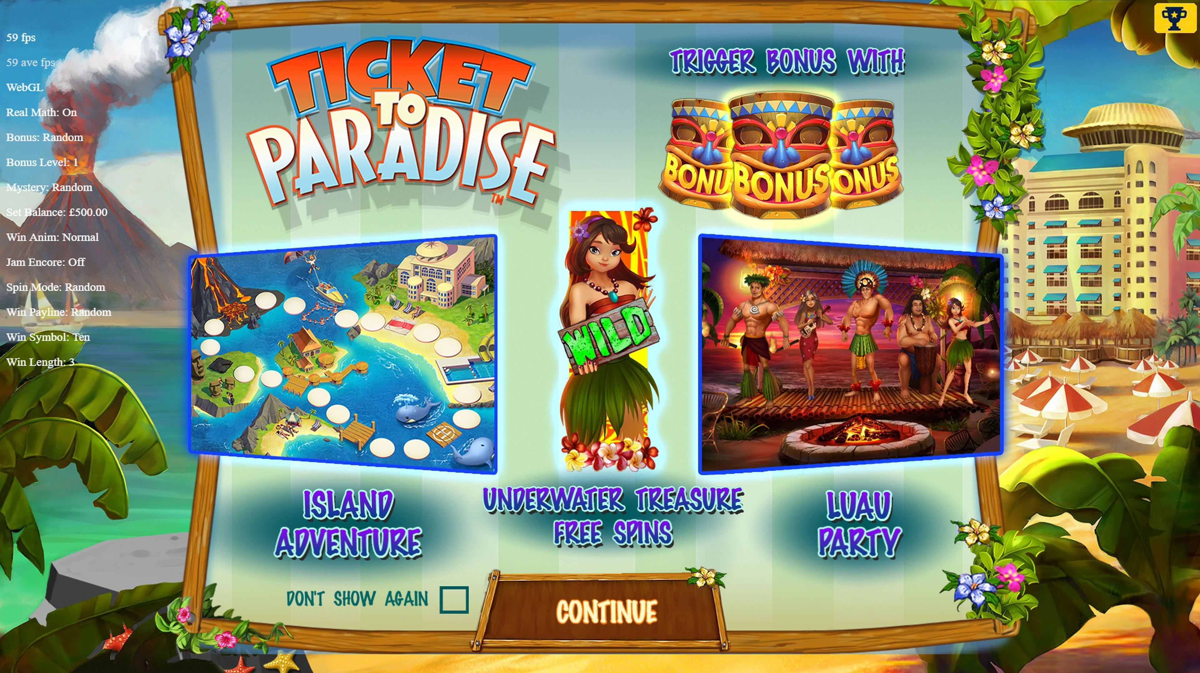 Play Ticket to Paradise Free Casino Slot Game by Asylum Labs Inc.