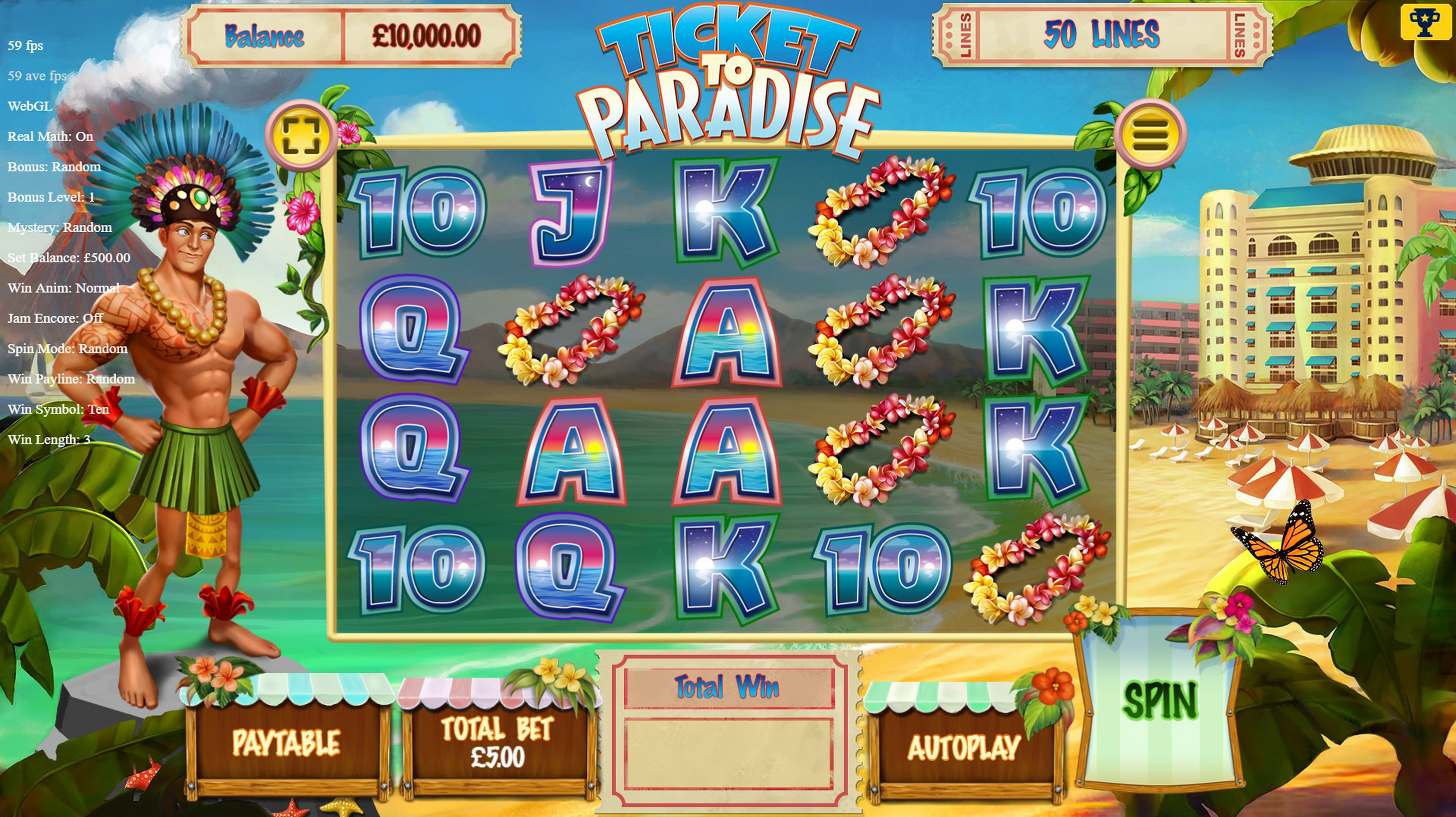 Reels in Ticket to Paradise Slot Game by Asylum Labs Inc.