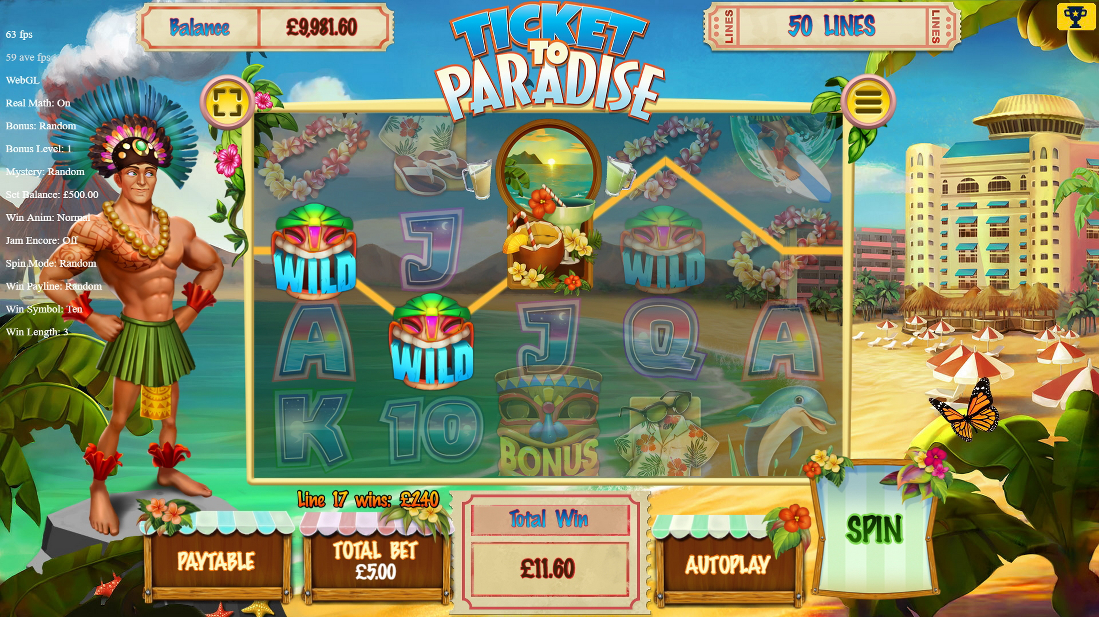 Win Money in Ticket to Paradise Free Slot Game by Asylum Labs Inc.