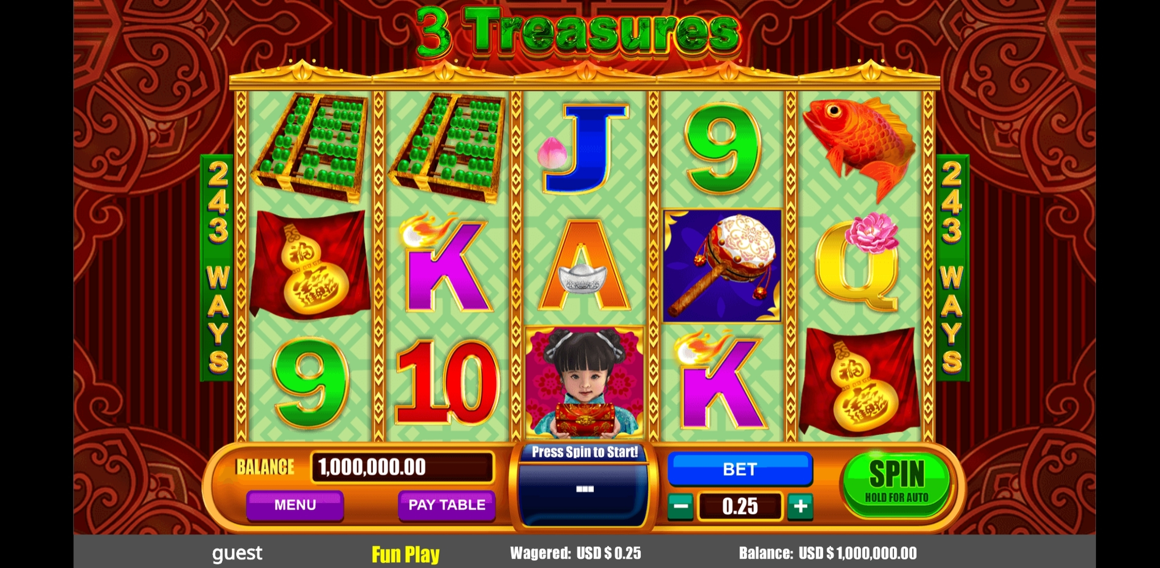 Reels in 3 Treasures Slot Game by August Gaming