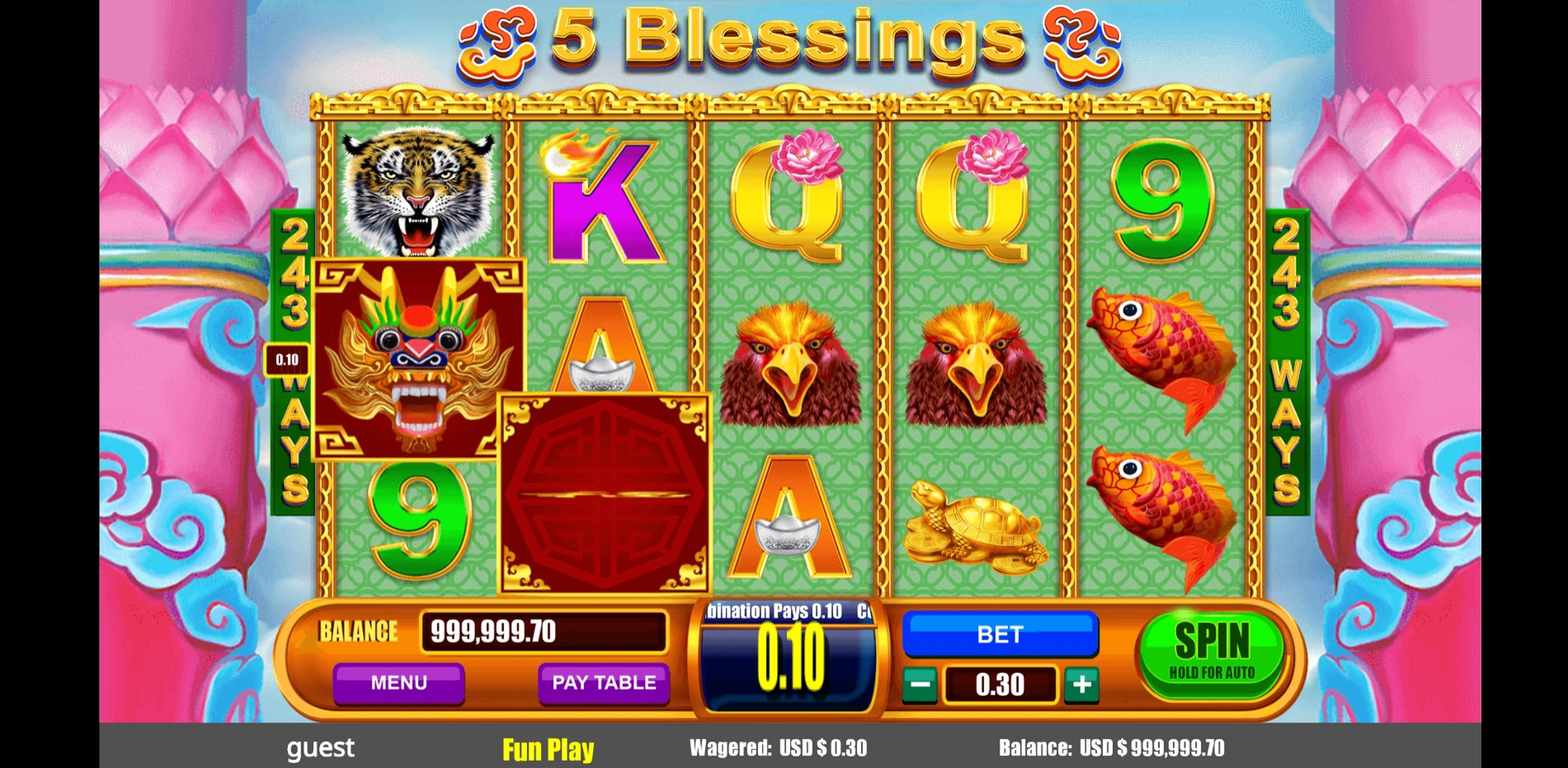 Win Money in 5 Blessings Free Slot Game by August Gaming
