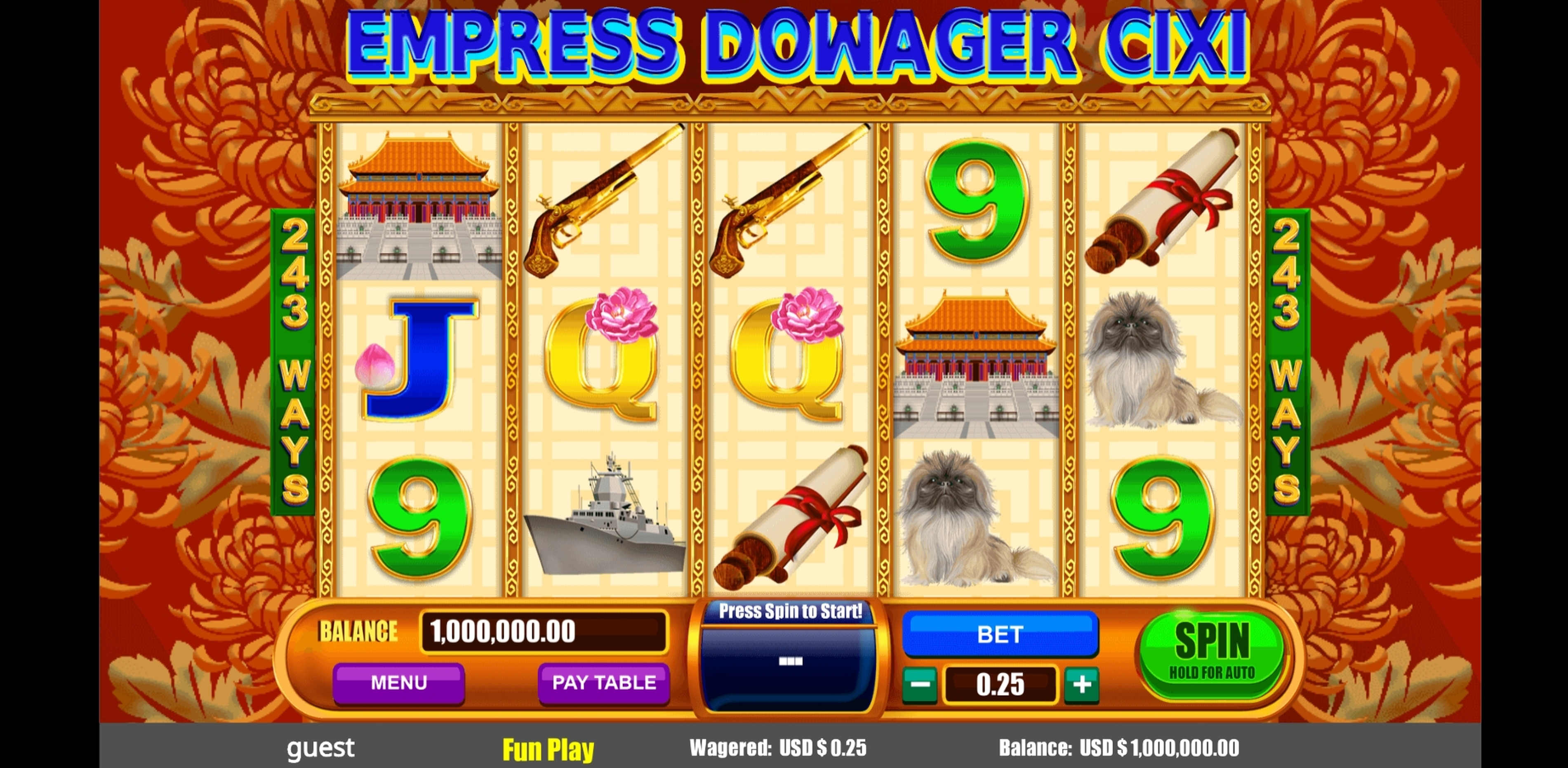 Reels in Empress Dowager Cixi Slot Game by August Gaming