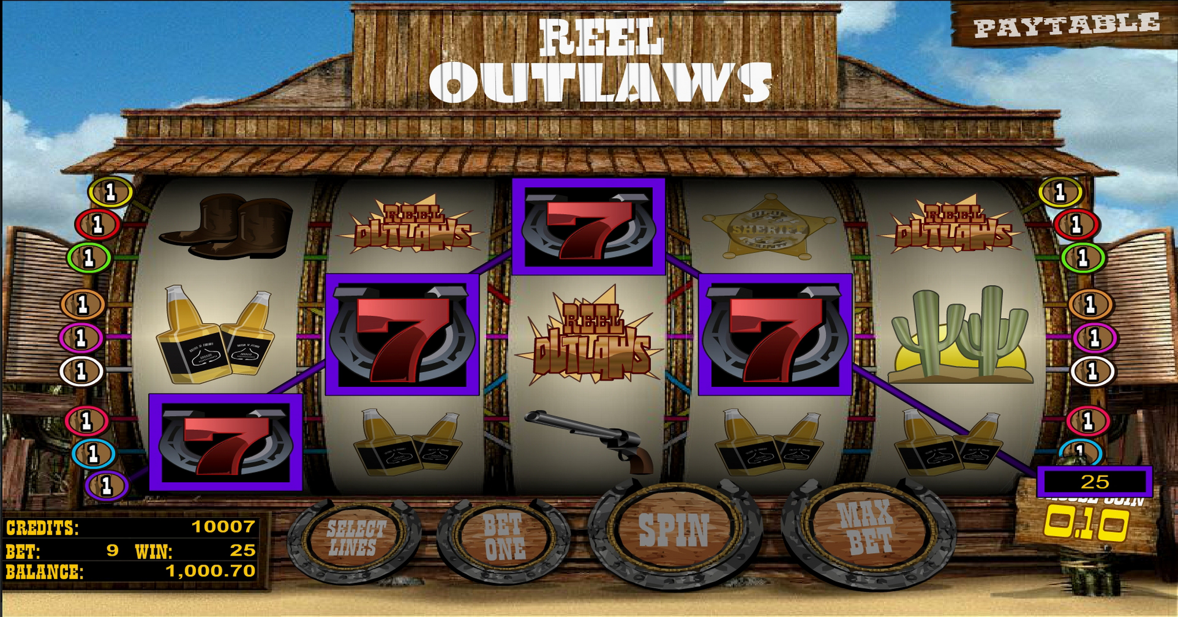 Win Money in Reel Outlaws Free Slot Game by Betsoft