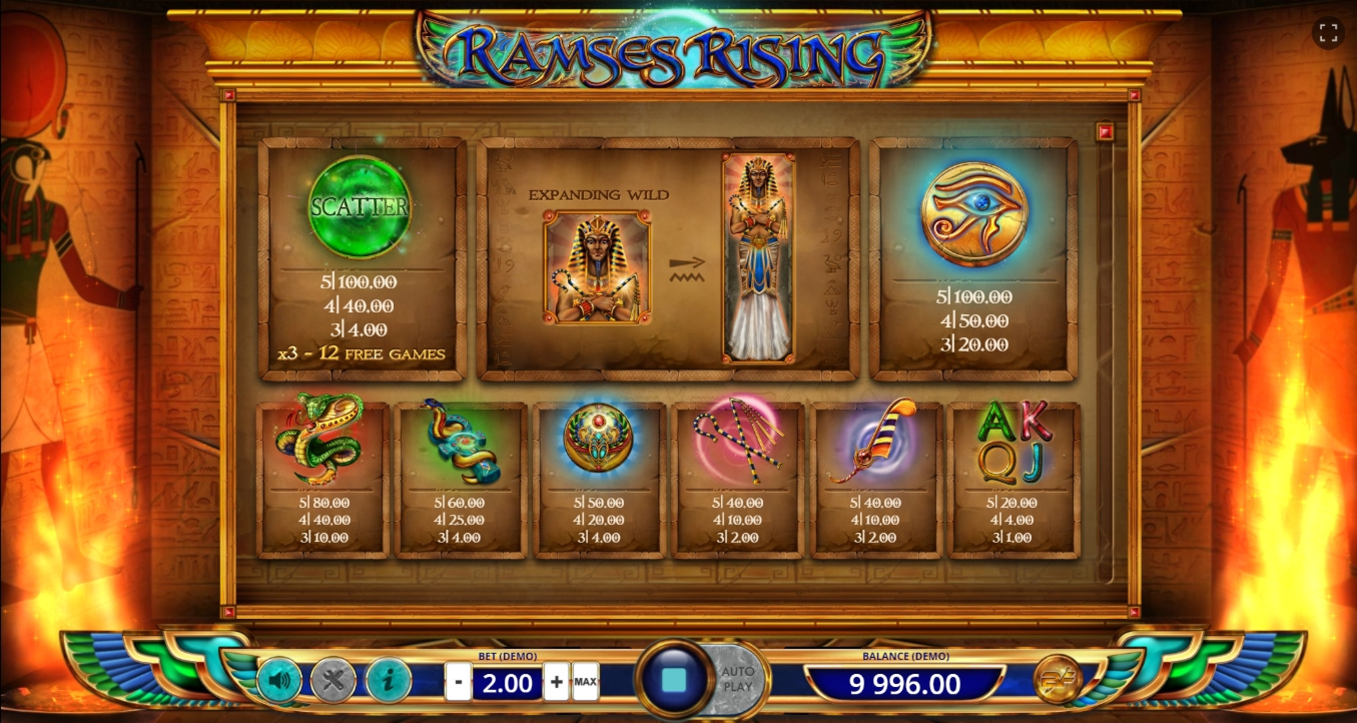 Info of Ramses Rising Slot Game by BF games
