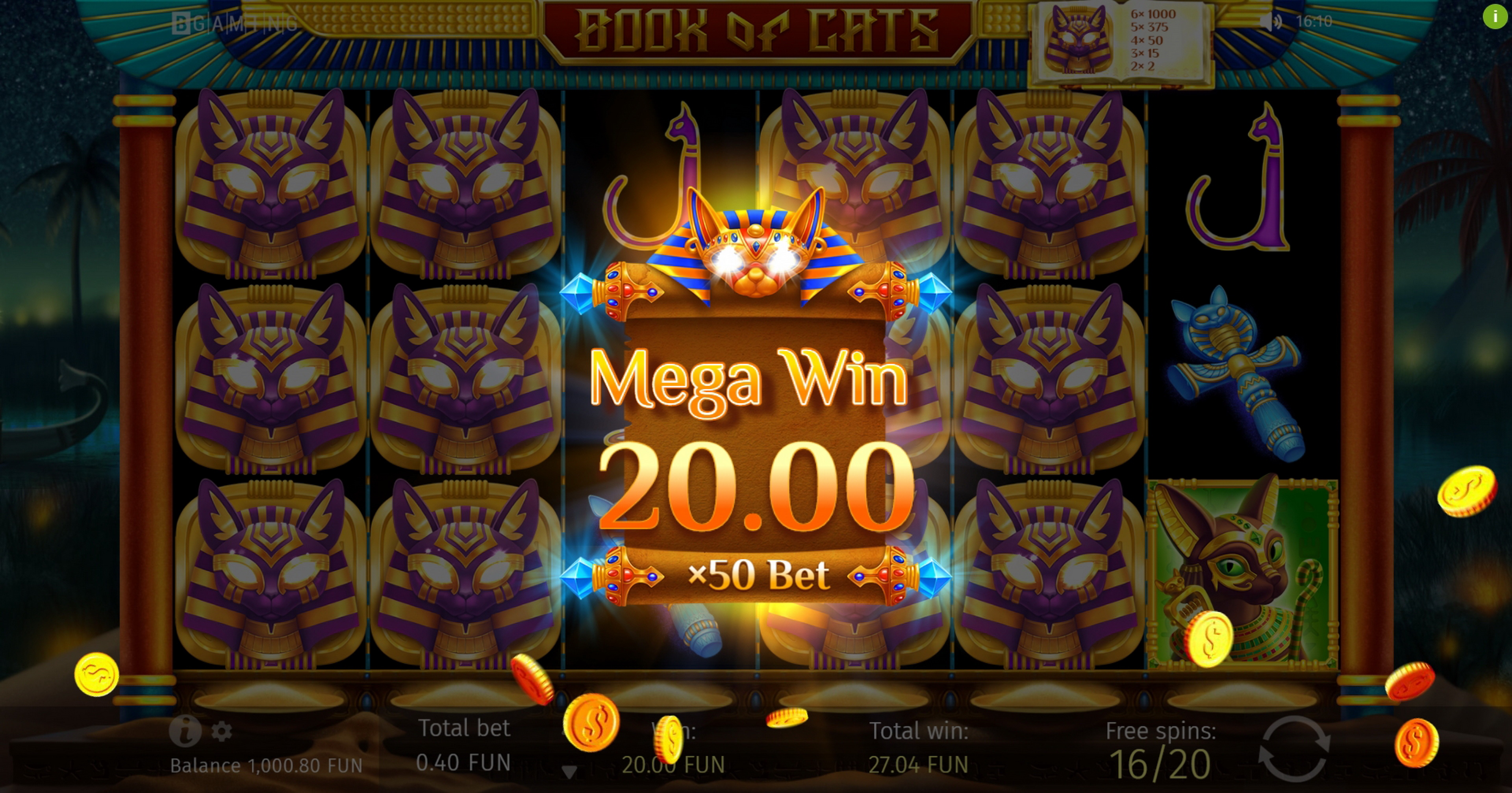 Win Money in Book Of Cats Free Slot Game by BGAMING
