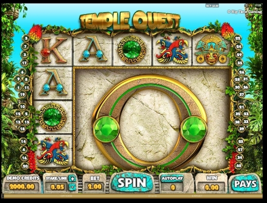 Reels in Temple Quest Slot Game by Big Time Gaming