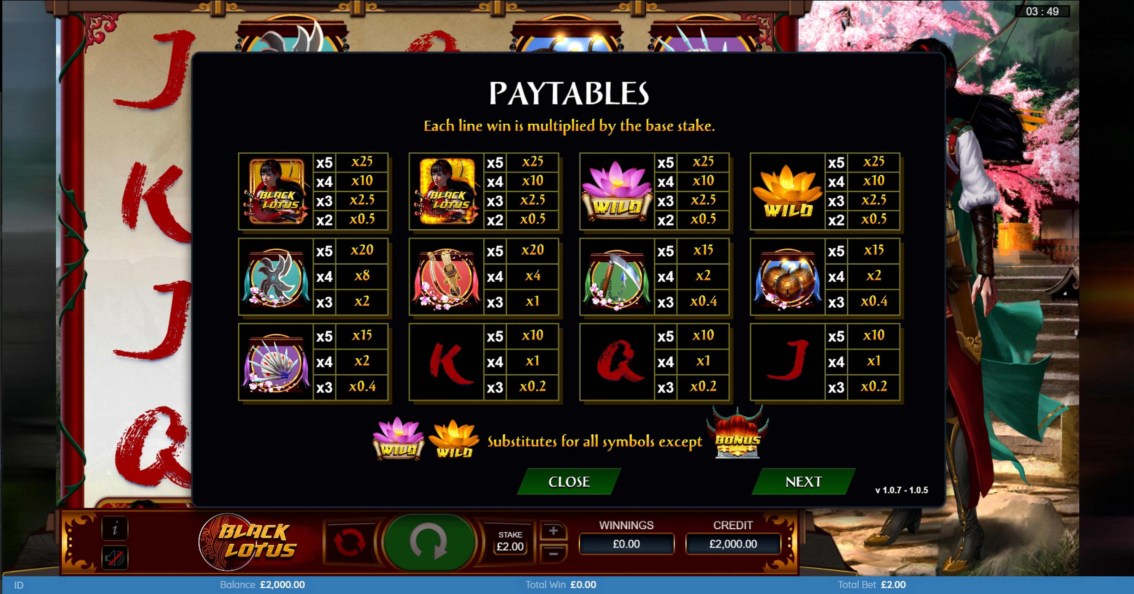 Info of Black Lotus Slot Game by Bulletproof Games