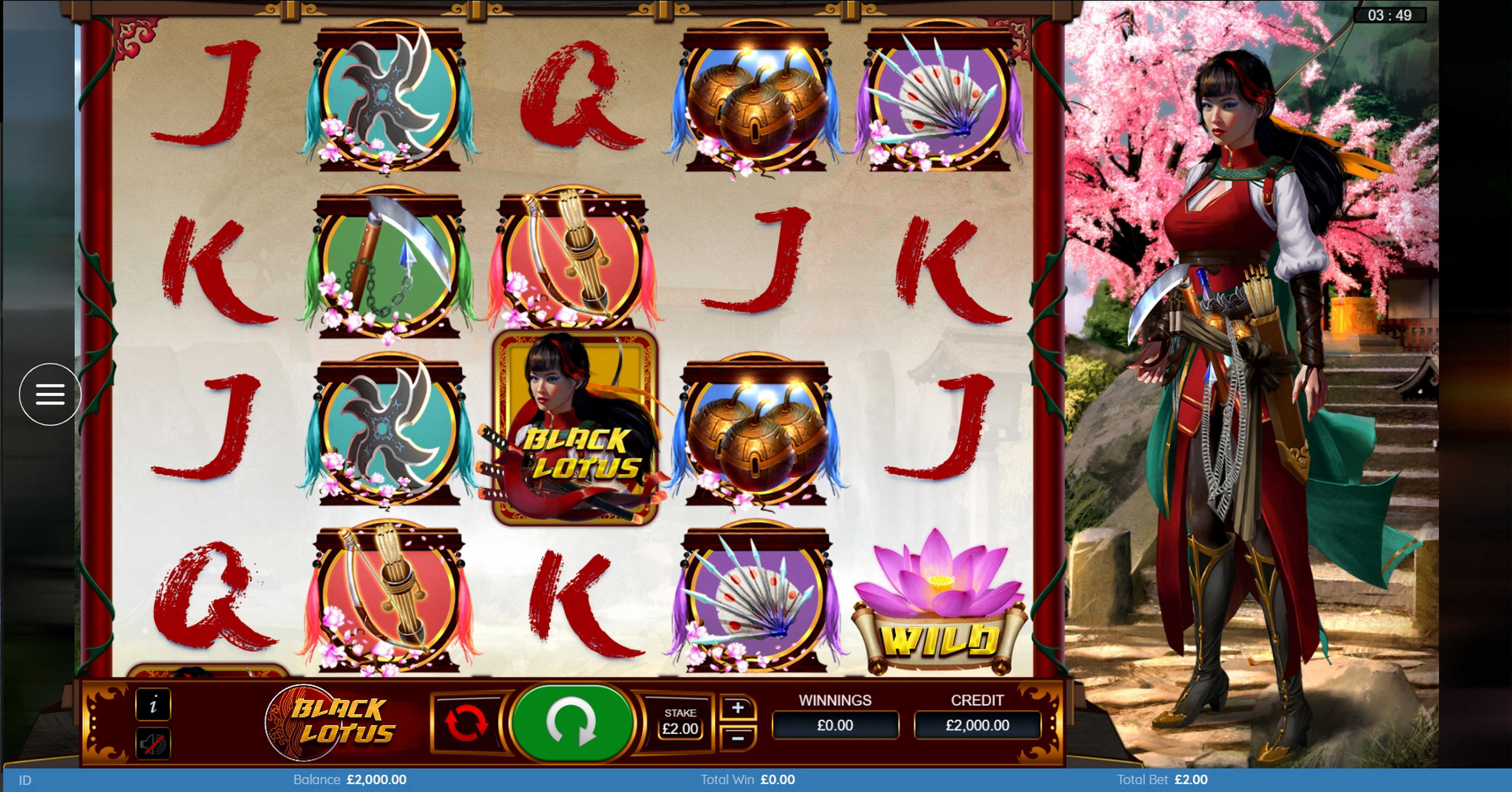 Reels in Black Lotus Slot Game by Bulletproof Games