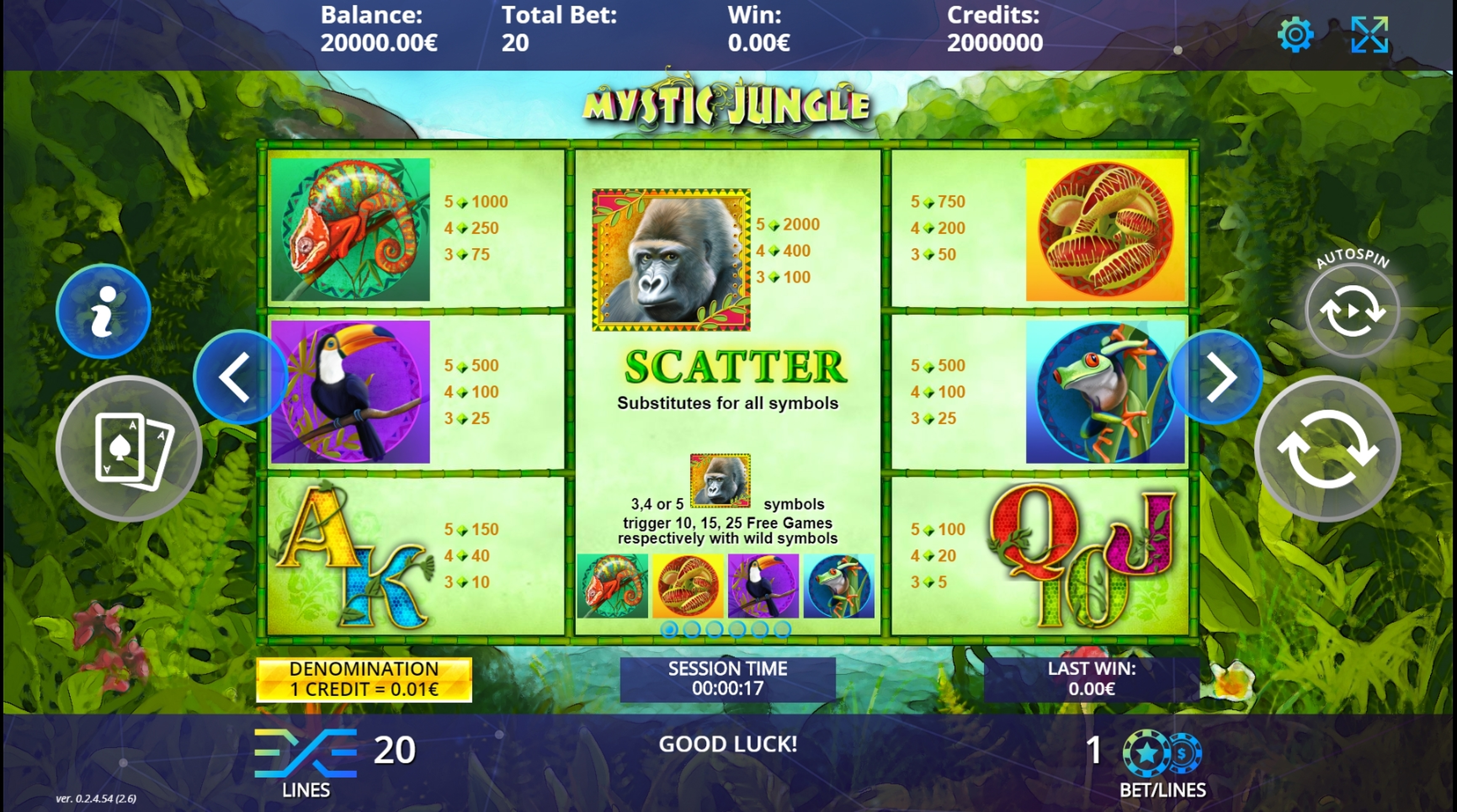 Info of Mystic Jungle Slot Game by DLV