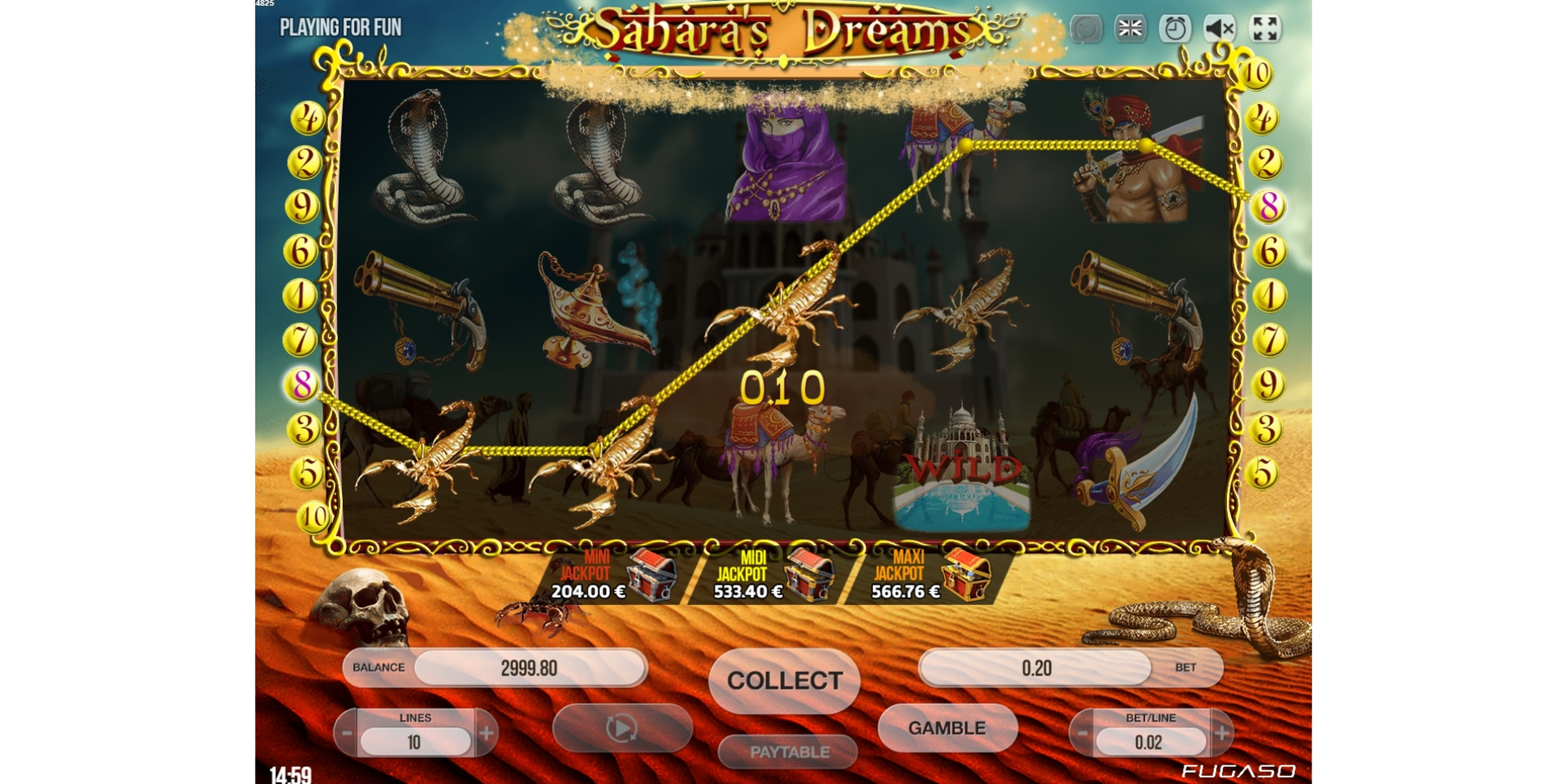 Win Money in Sahara's Dreams Free Slot Game by Fugaso