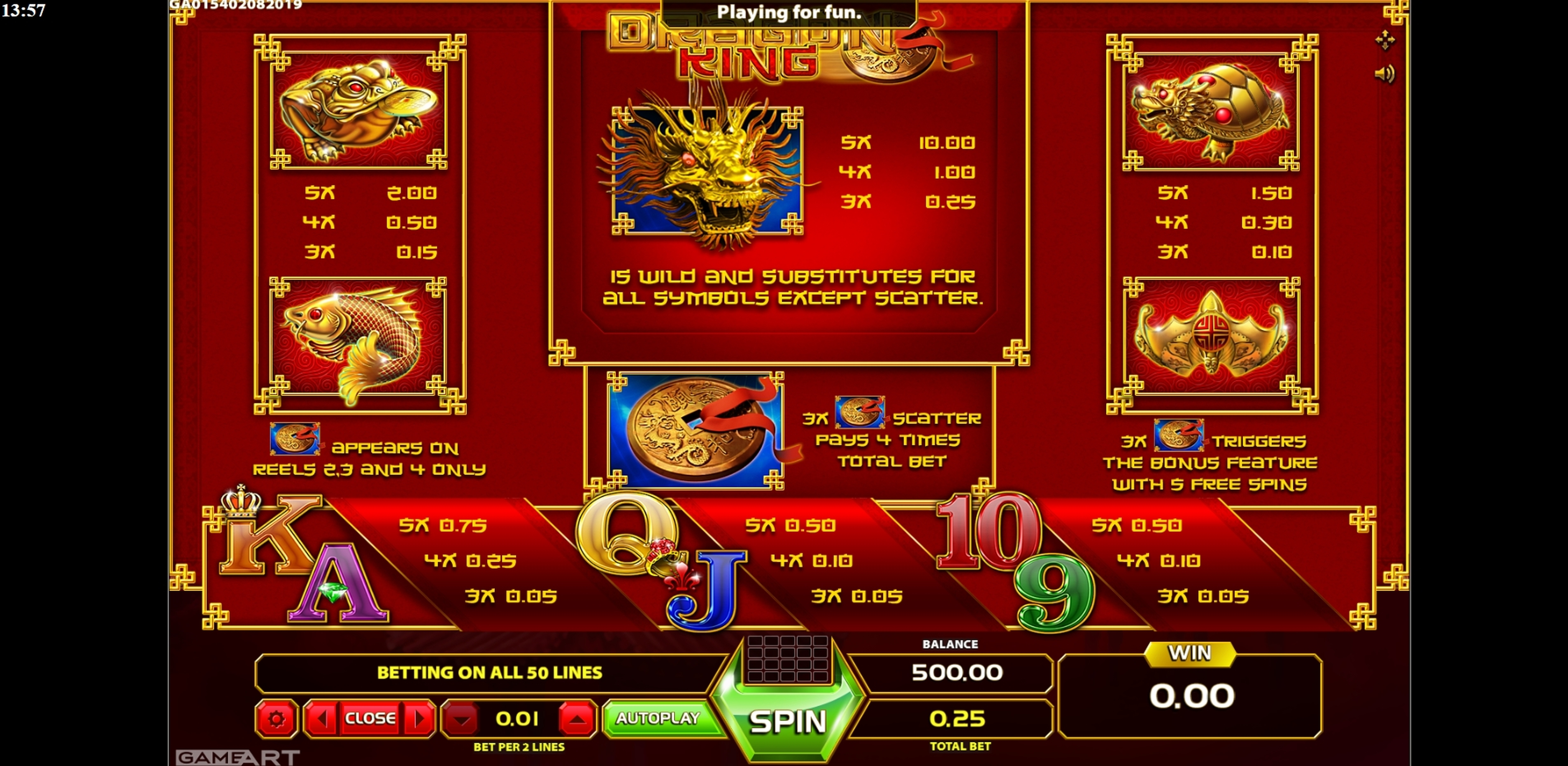 Info of Dragon King (GameArt) Slot Game by GameArt