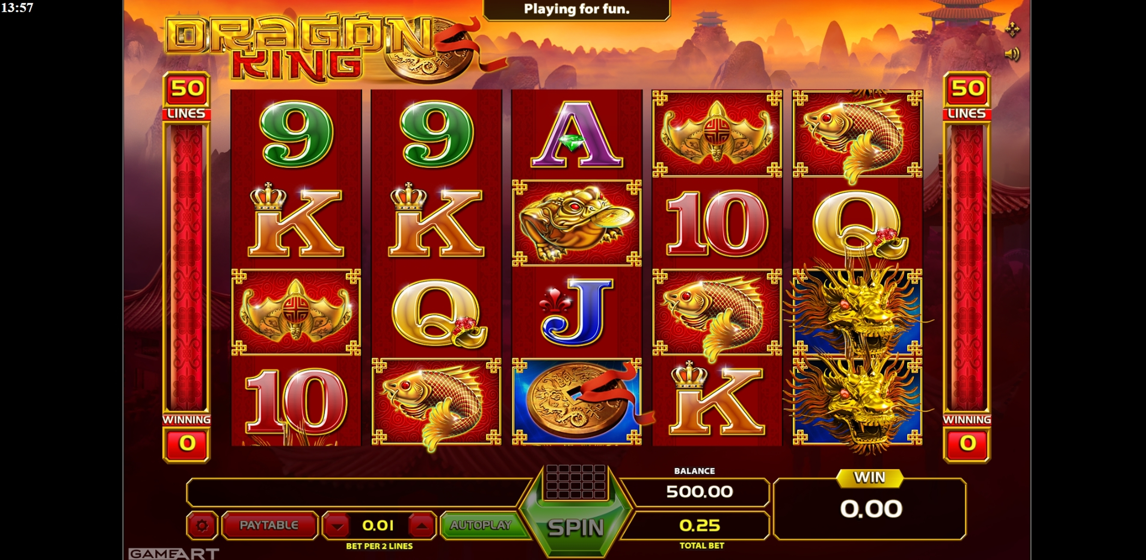 Reels in Dragon King (GameArt) Slot Game by GameArt
