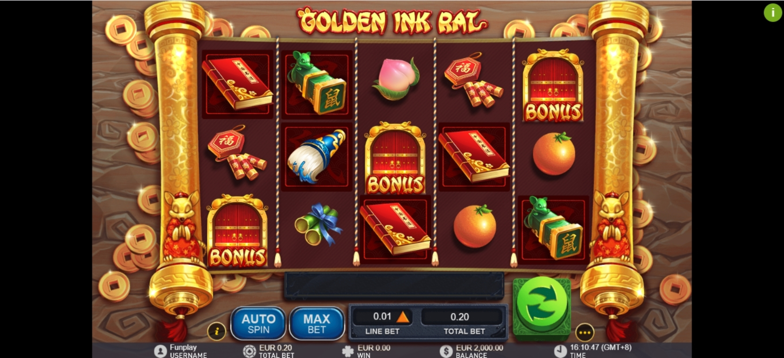 Reels in Golden Ink Rat Slot Game by Gameplay Interactive