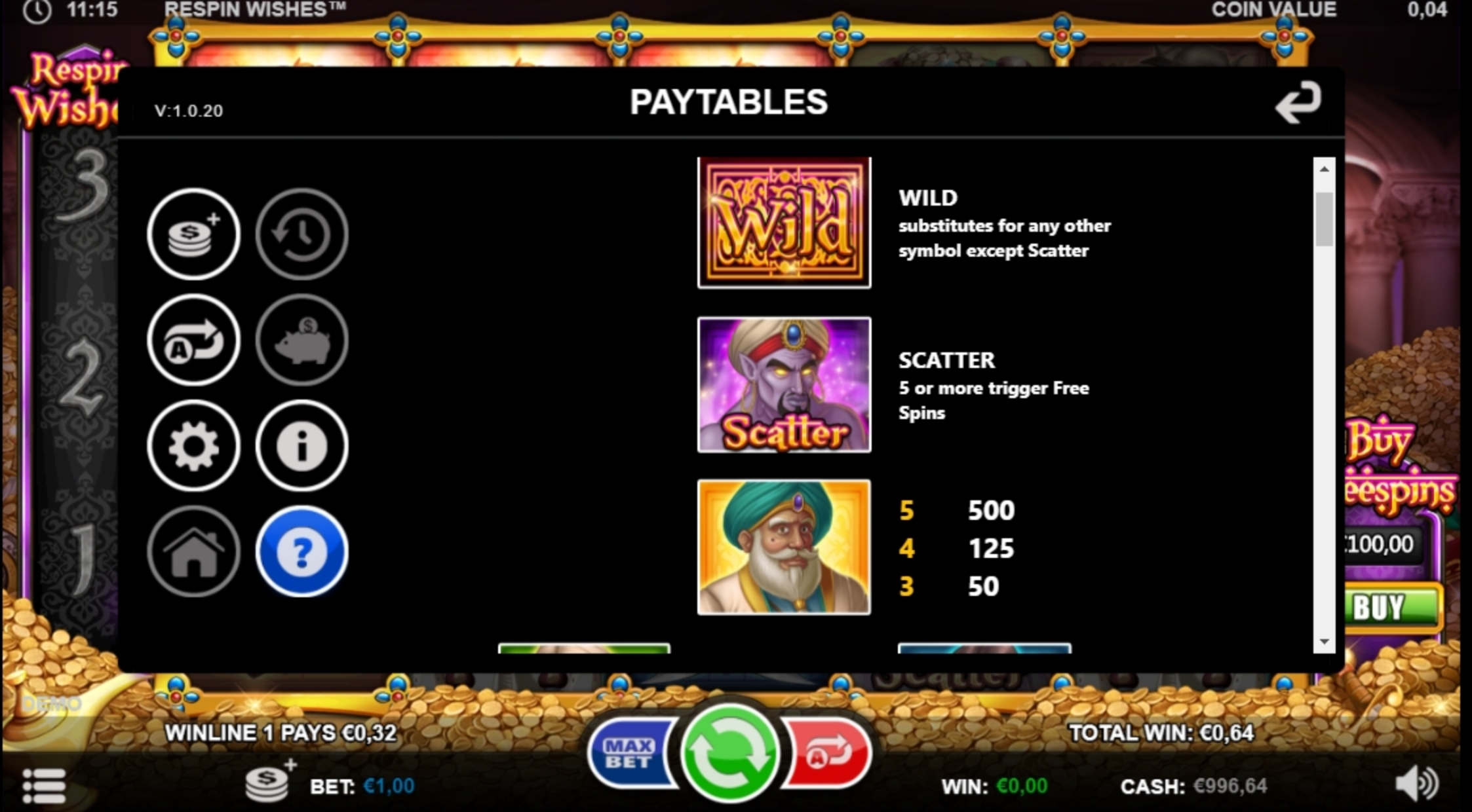 Info of Respin Wishes Slot Game by Games Inc