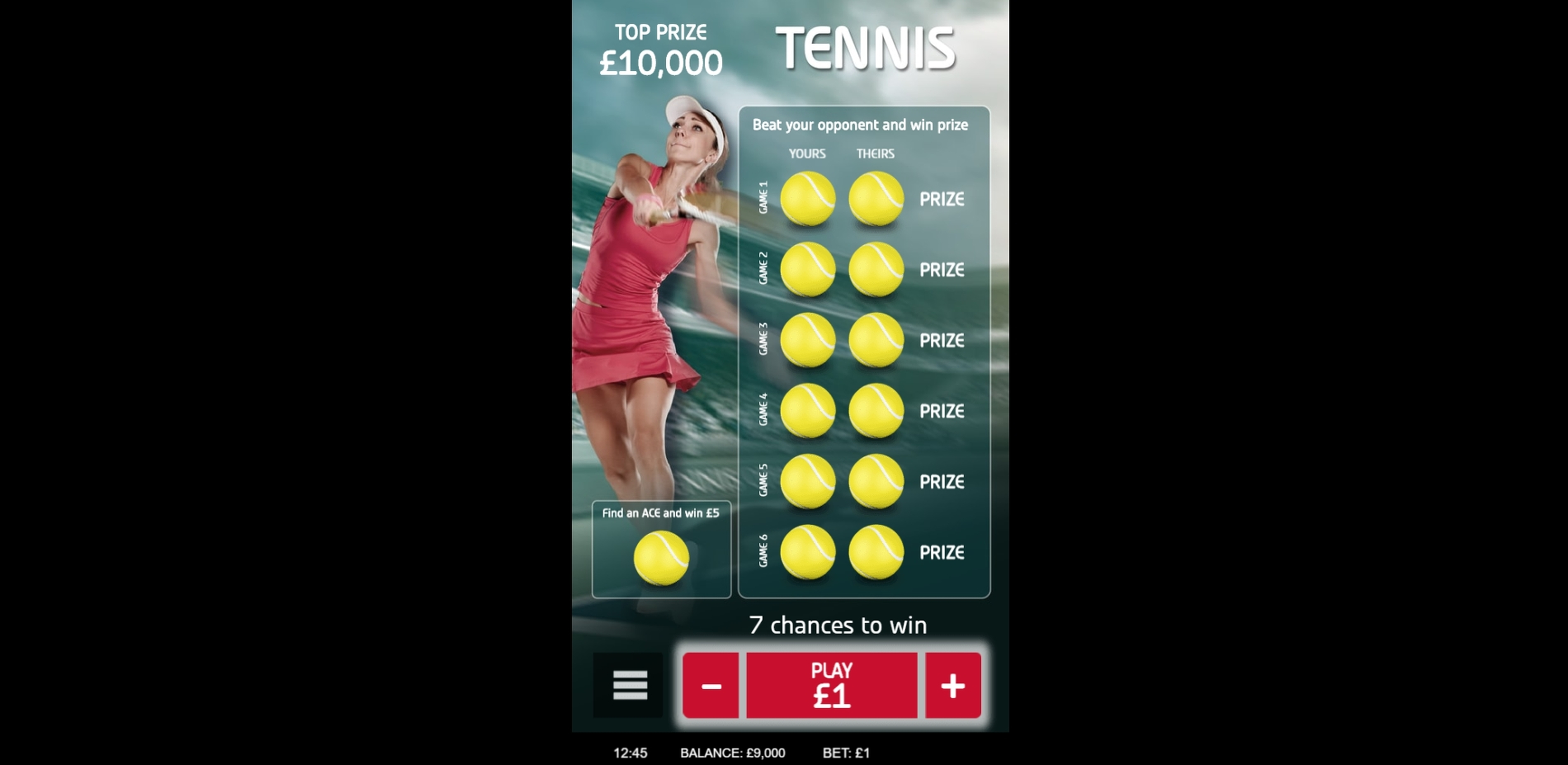 Reels in Tennis Slot Game by gamevy