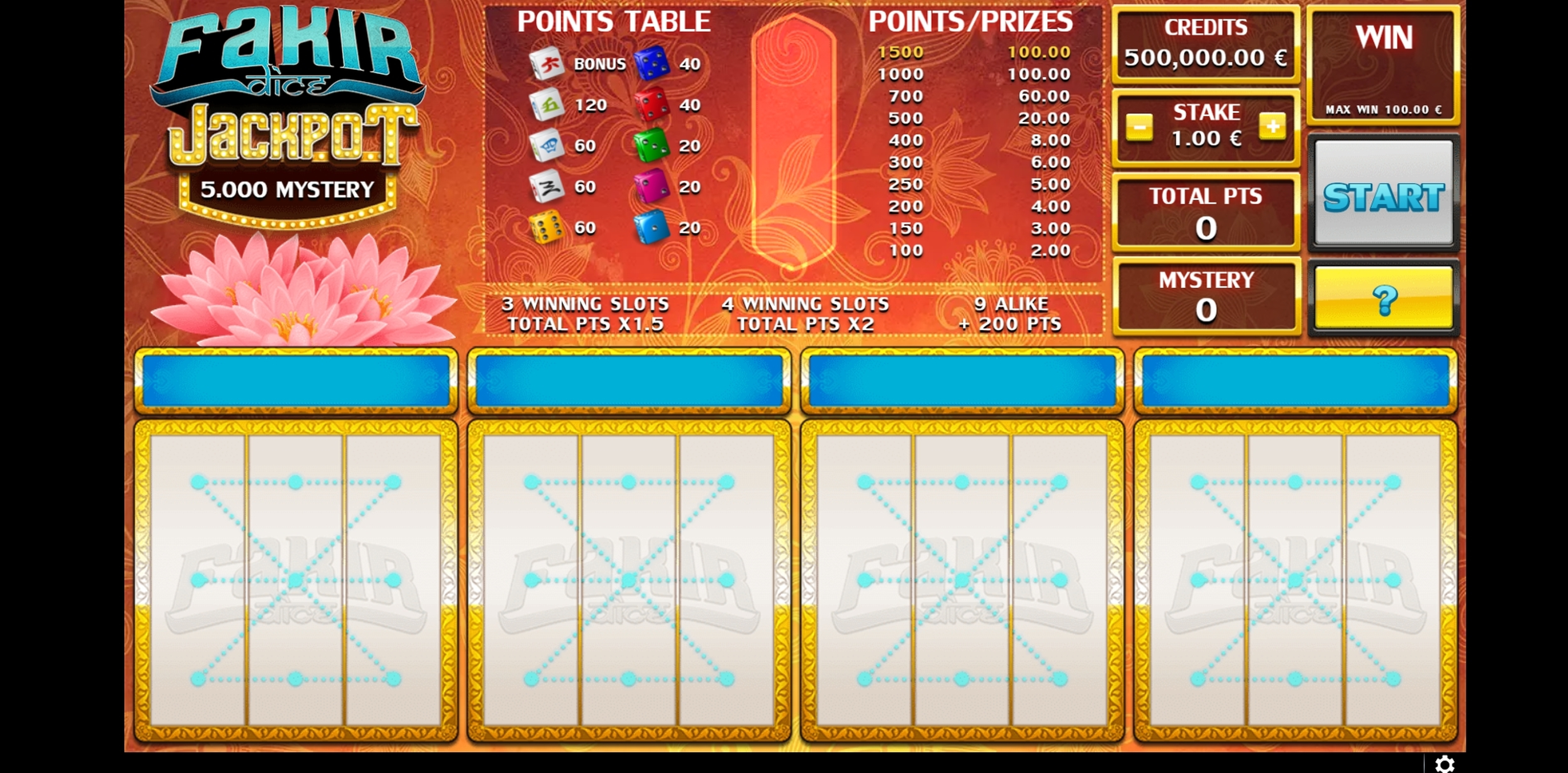 Reels in Fakir Dice Slot Game by GAMING1
