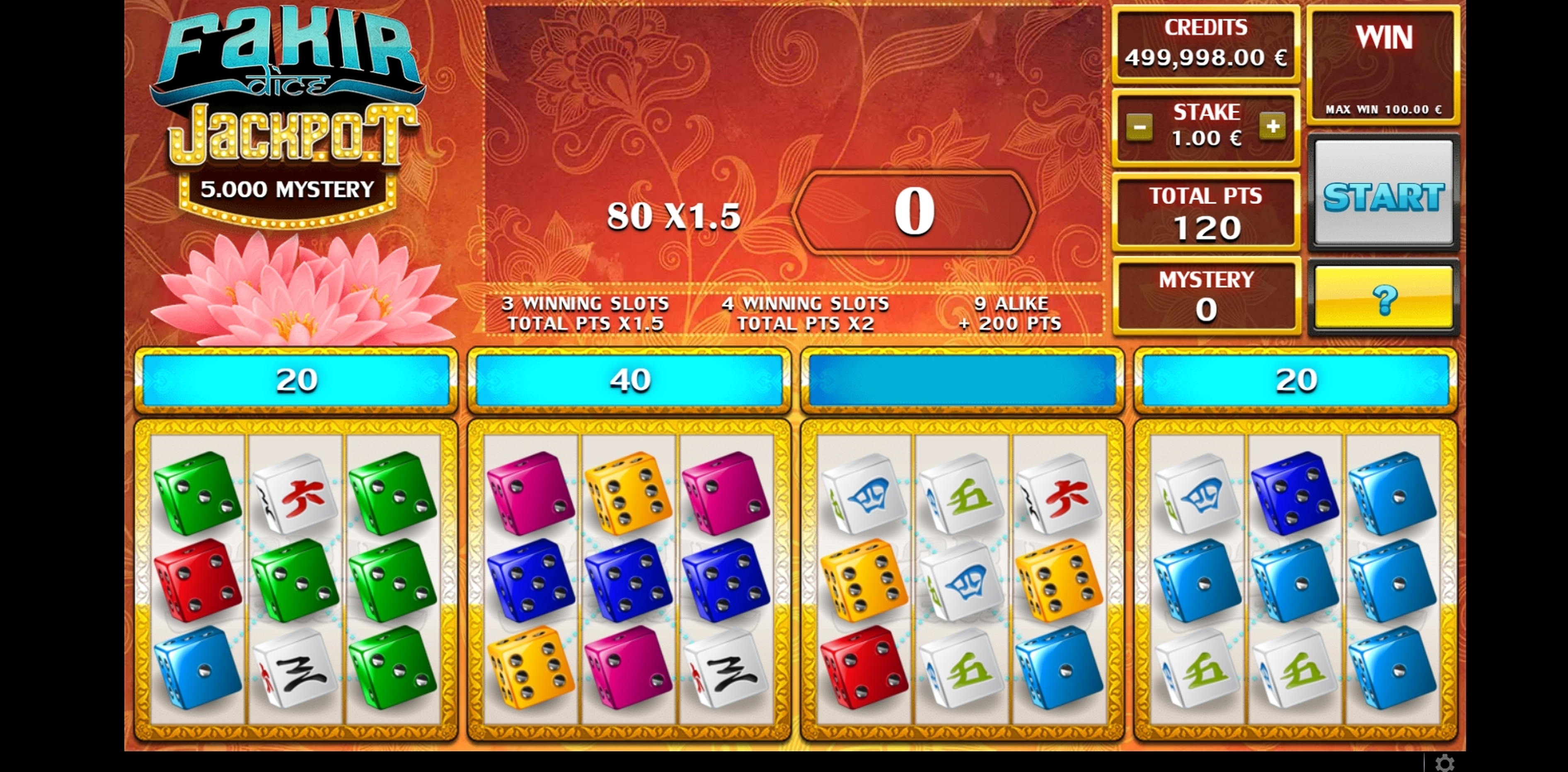 Win Money in Fakir Dice Free Slot Game by GAMING1