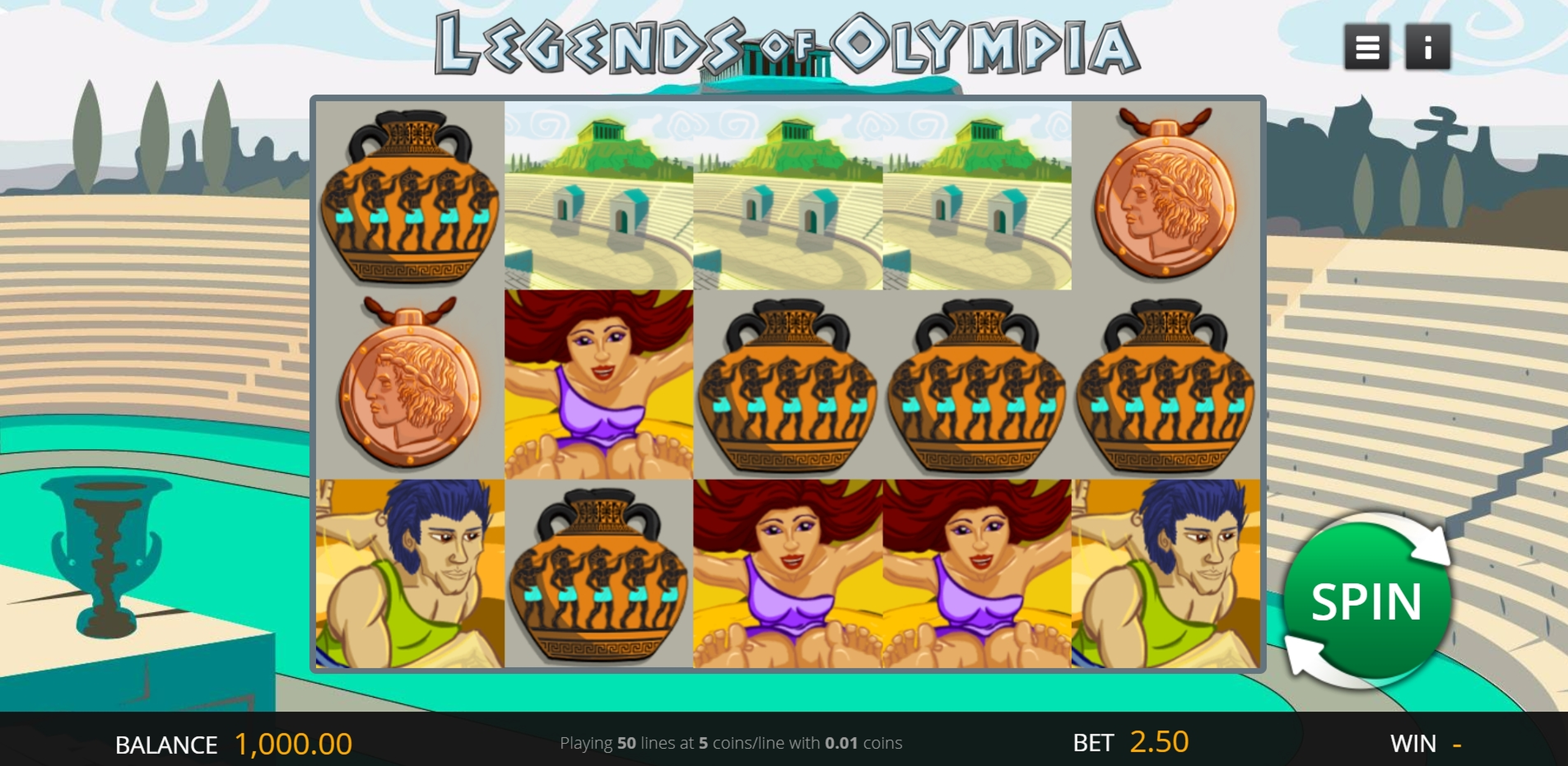 Reels in Legends of Olympia Slot Game by Genii