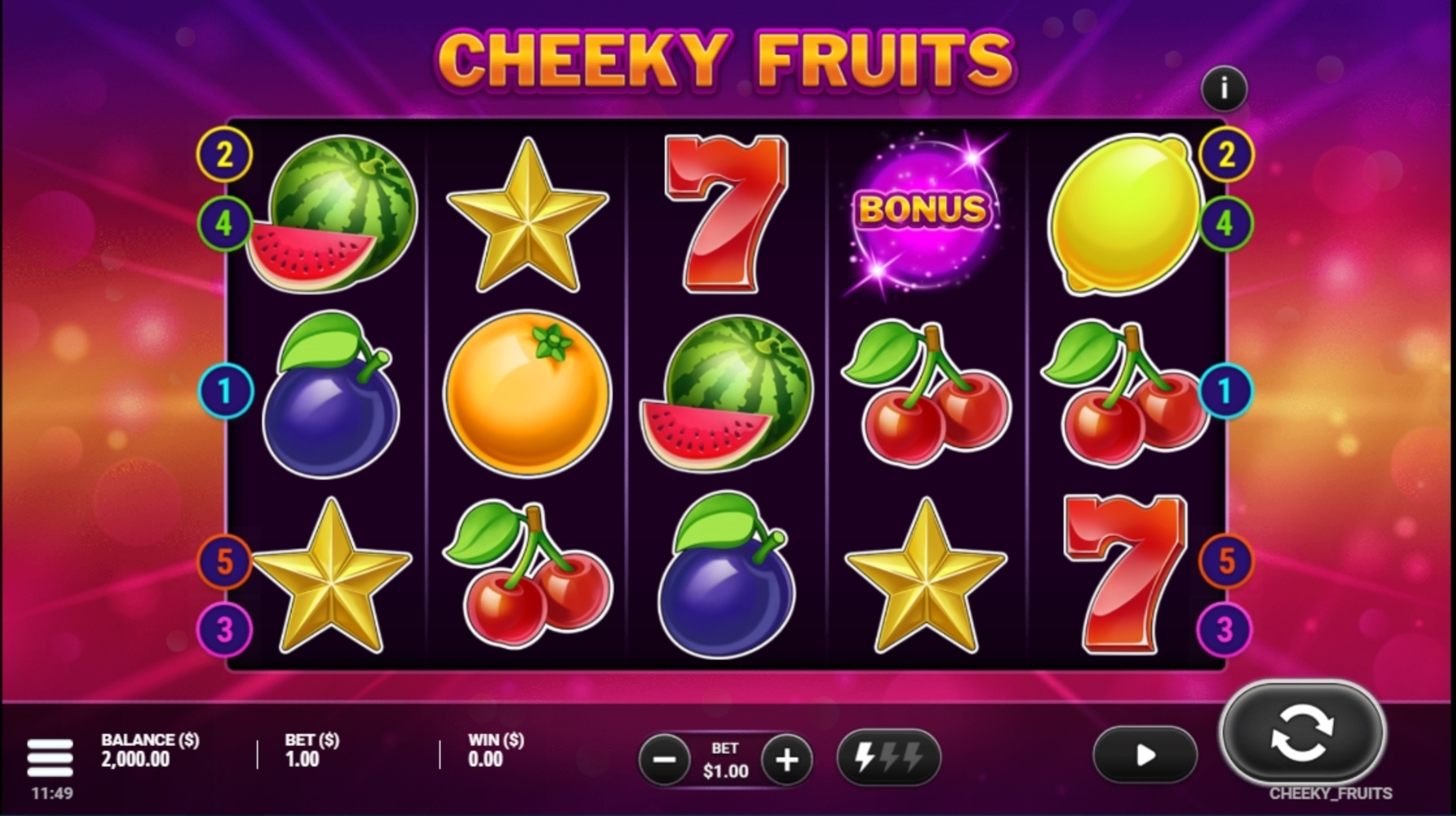 Reels in Cheeky Fruits Slot Game by Gluck Games
