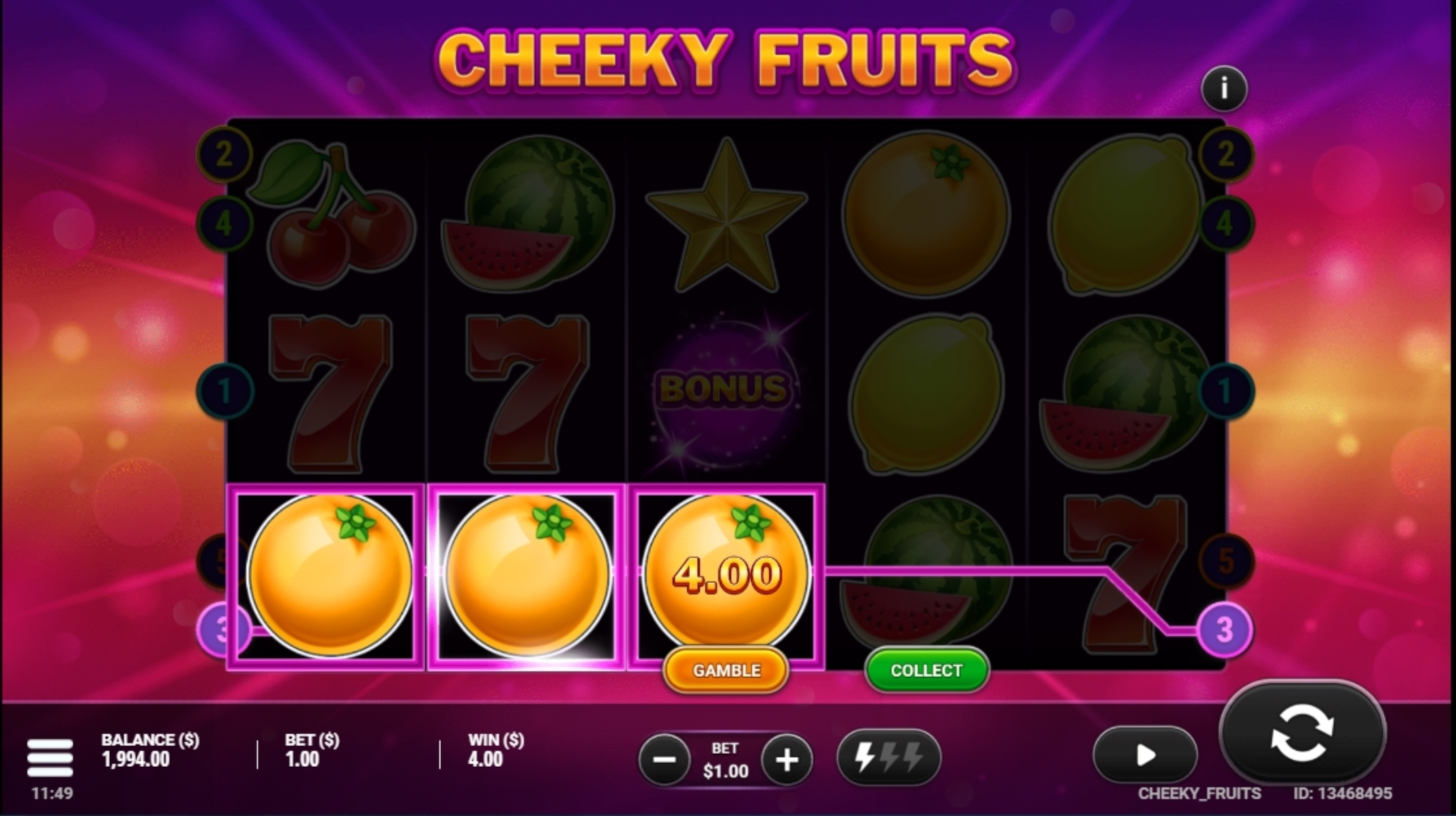 Win Money in Cheeky Fruits Free Slot Game by Gluck Games