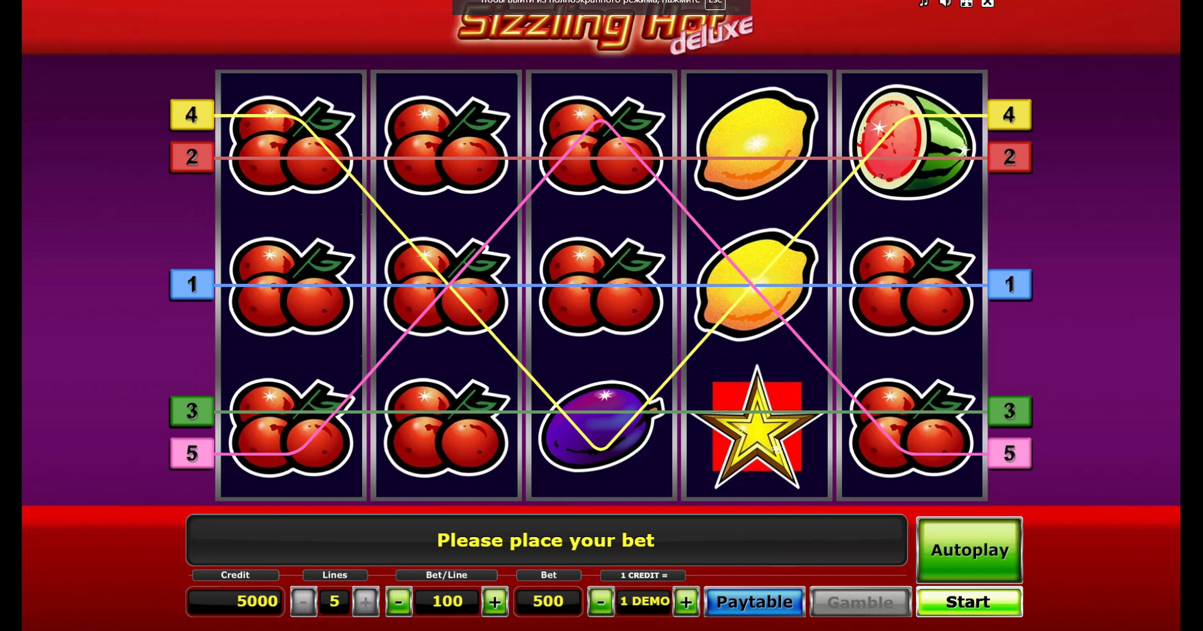 Play Sizzling Hot deluxe Free Casino Slot Game by Greentube