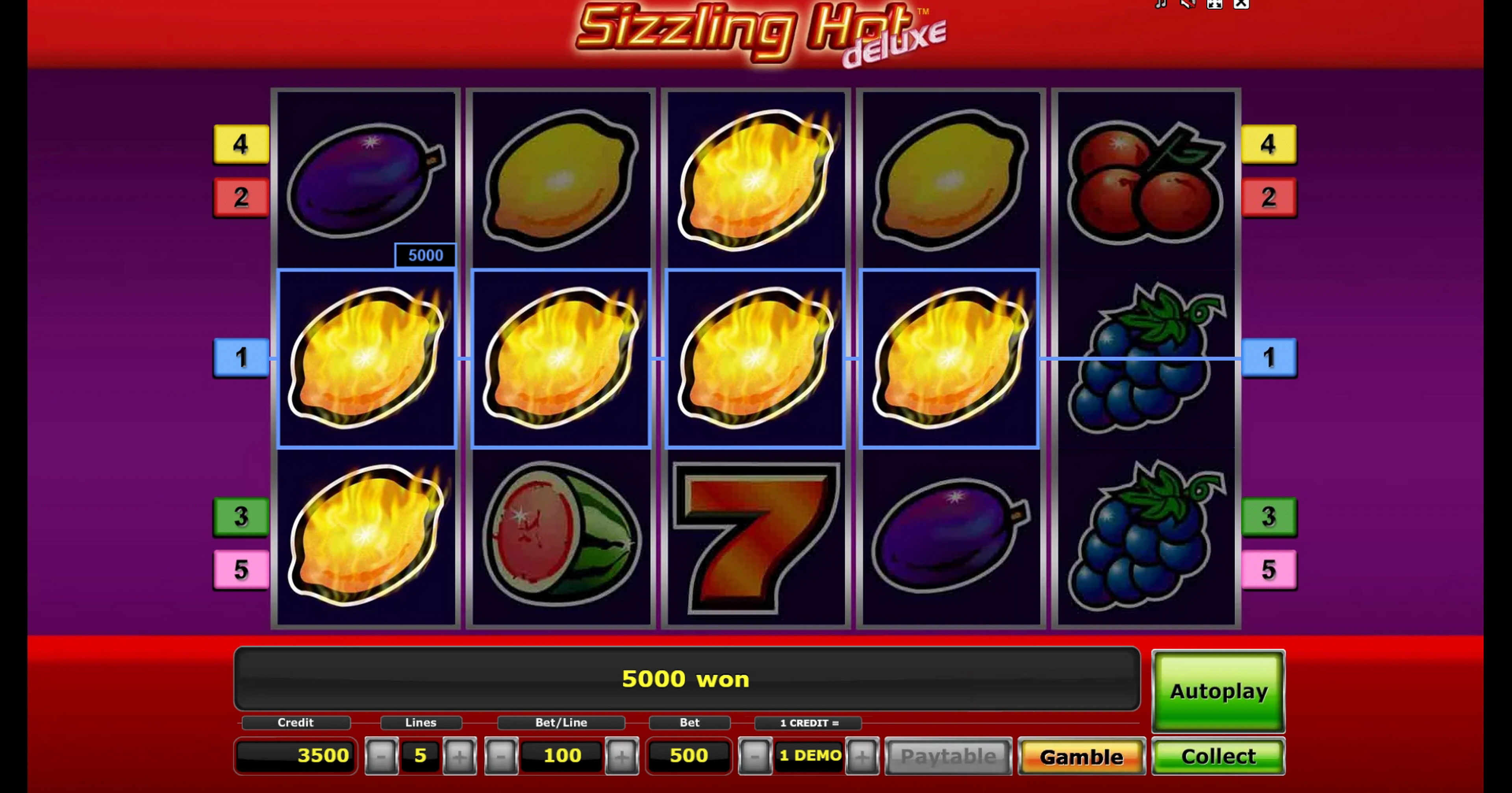 Win Money in Sizzling Hot deluxe Free Slot Game by Greentube