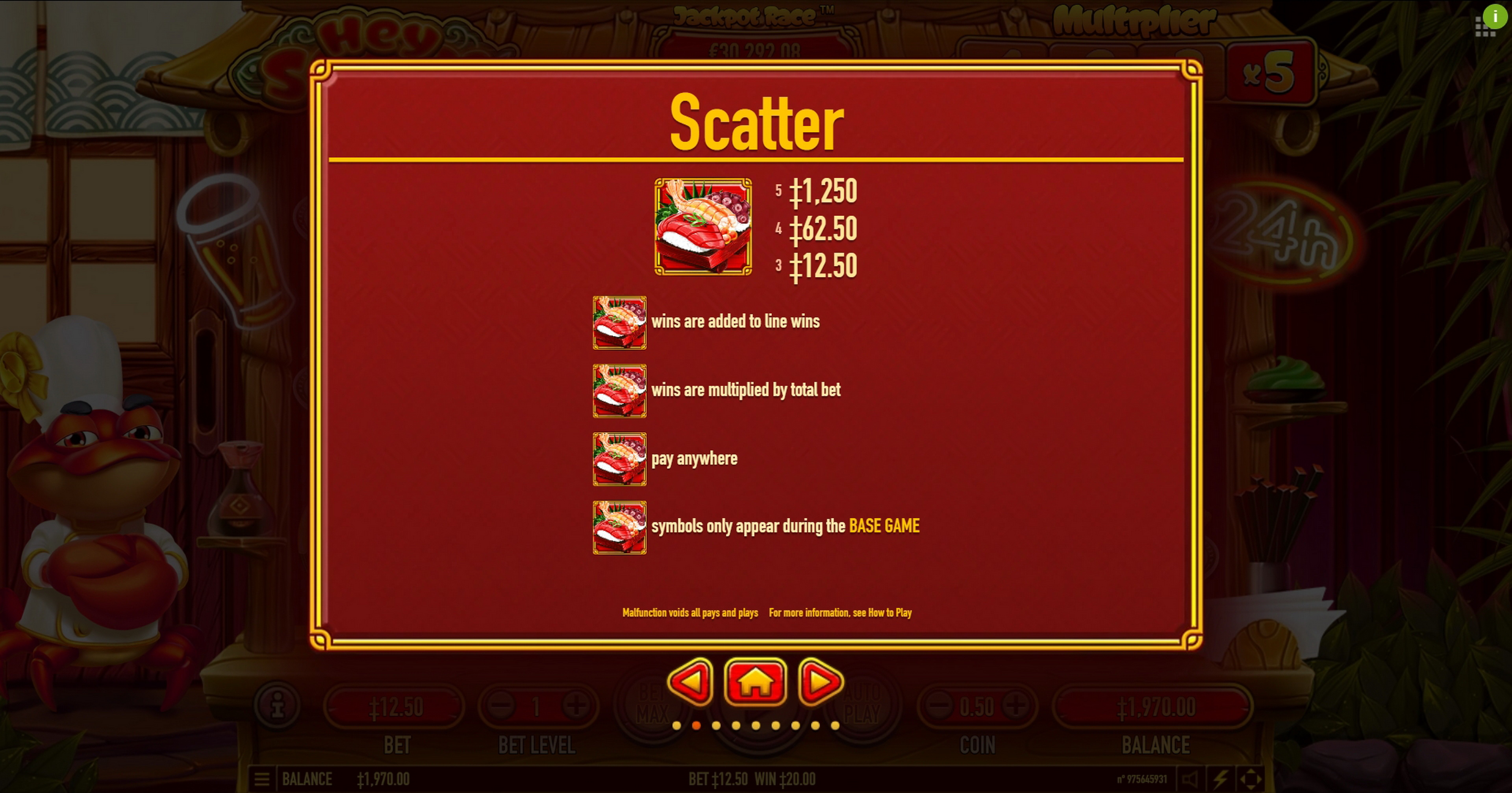 Info of Hey Sushi Slot Game by Habanero