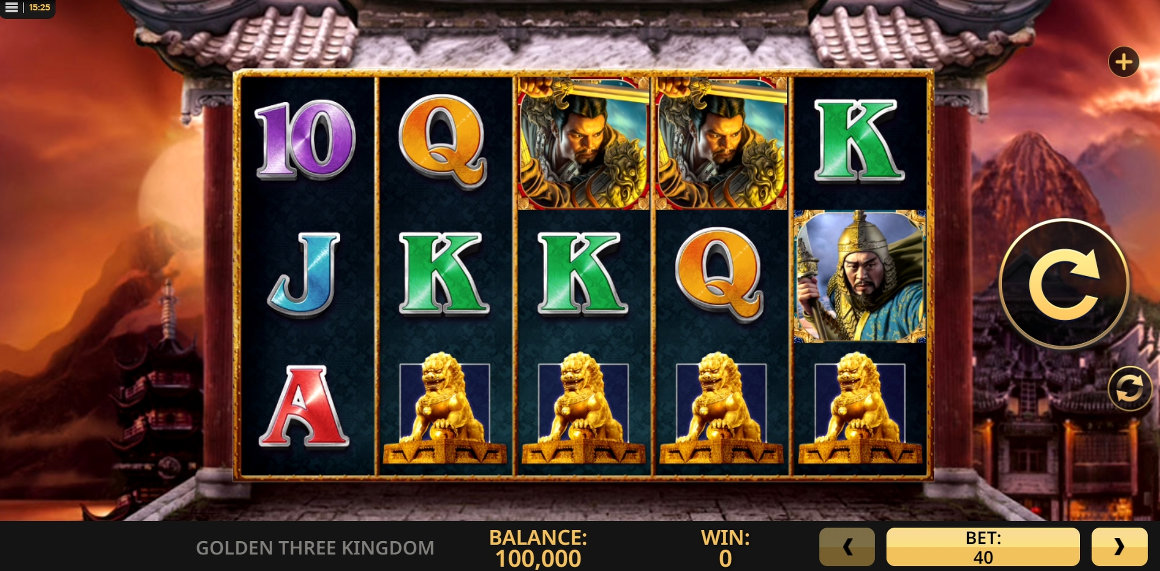 Reels in Golden Three Kingdom Slot Game by High 5 Games