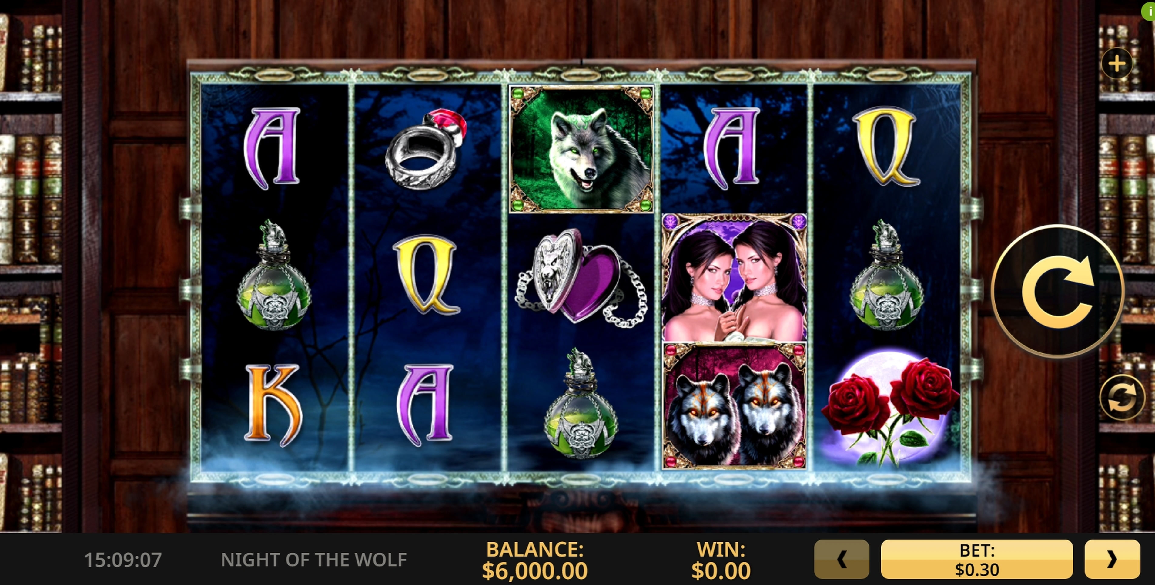 Reels in Night of the Wolf Slot Game by High 5 Games