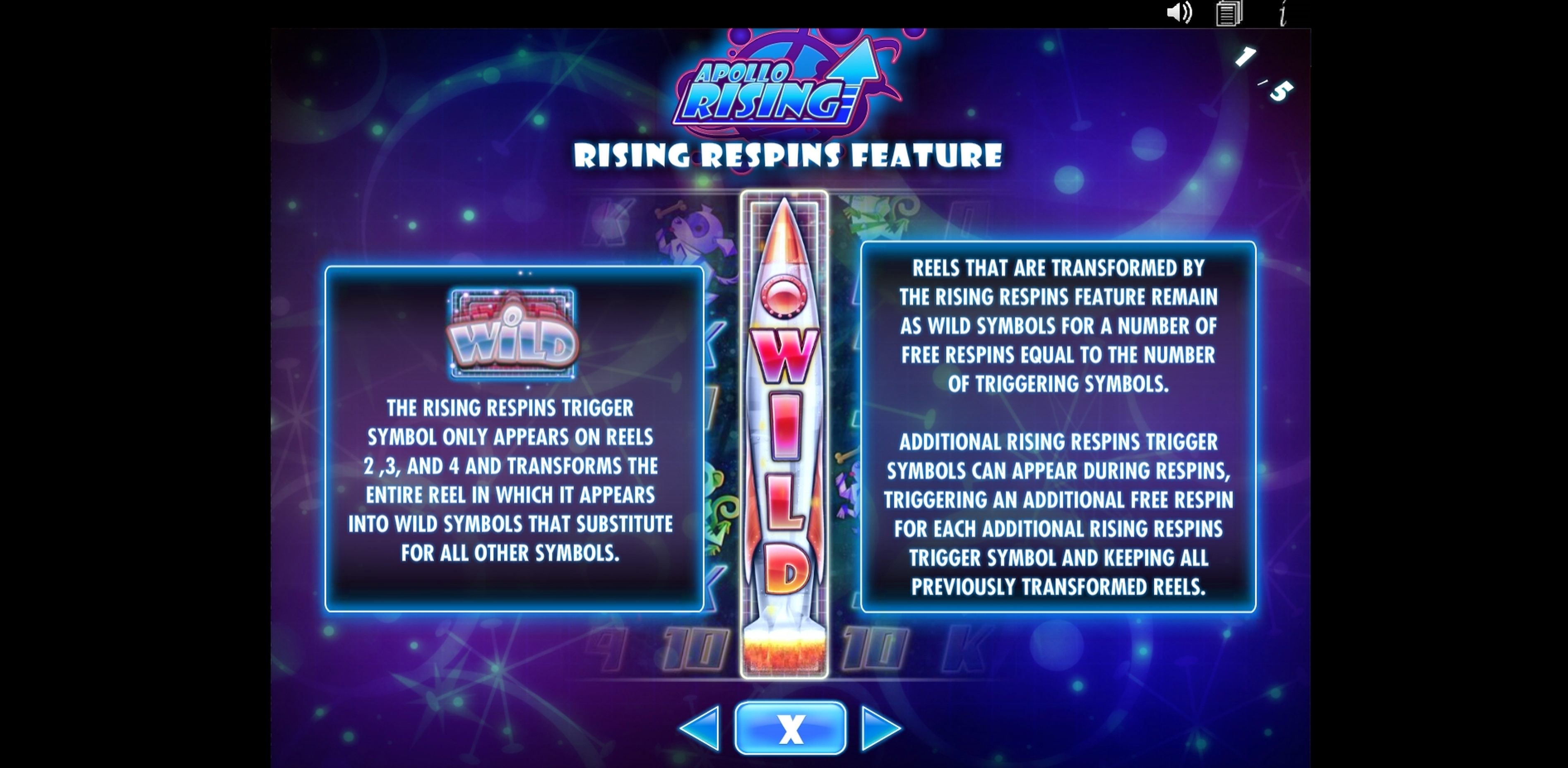 Info of Apollo Rising Slot Game by IGT