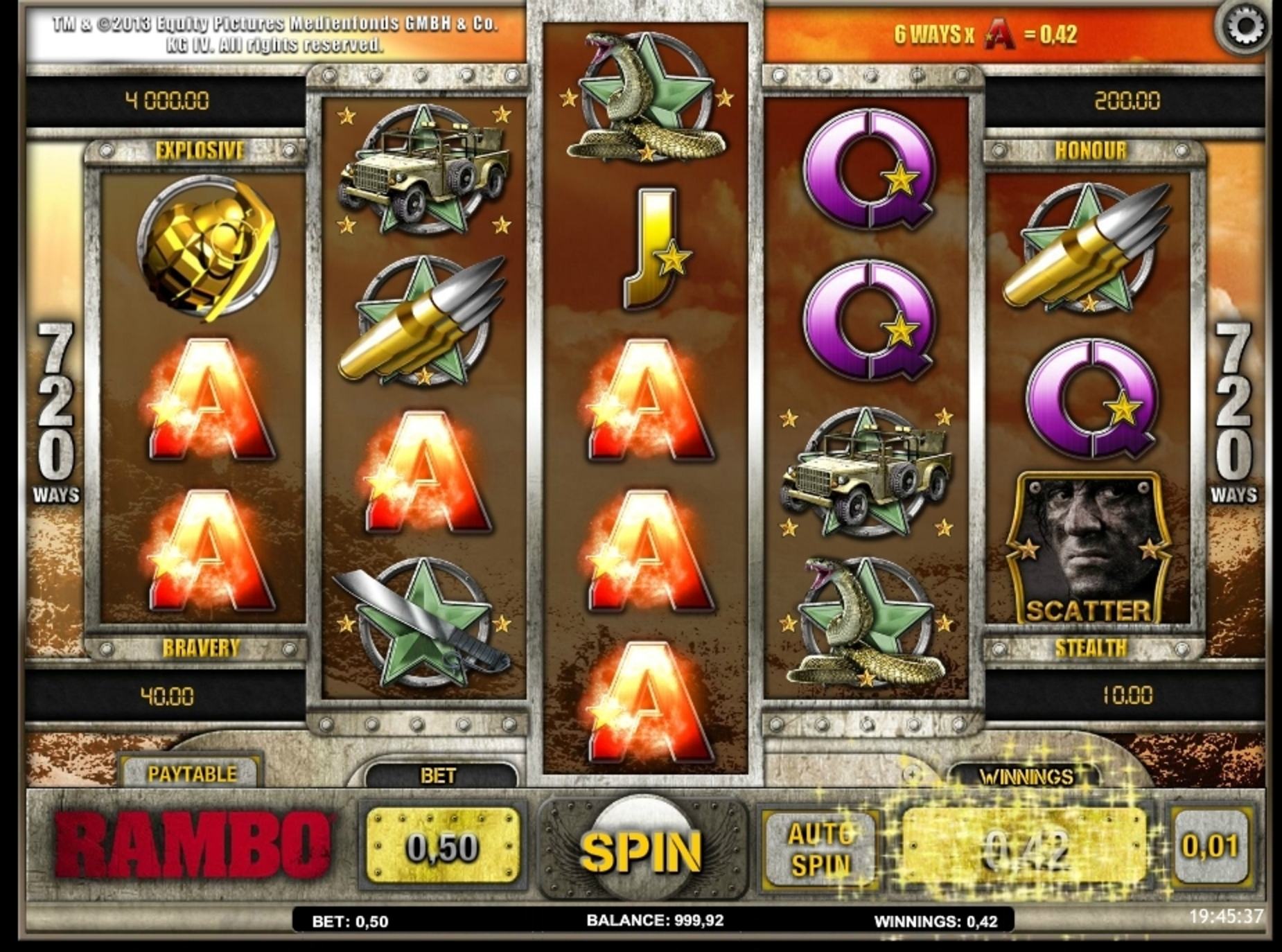 Win Money in Rambo (iSoftBet) Free Slot Game by iSoftBet