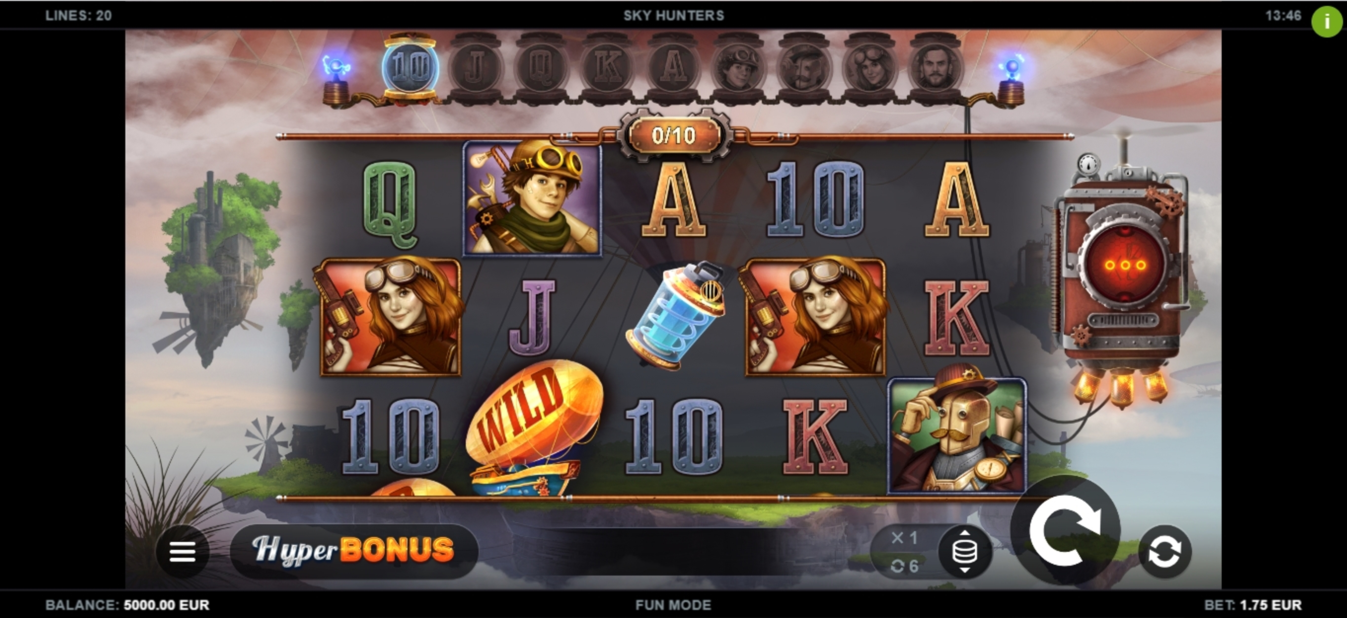 Reels in Sky Hunters Slot Game by Kalamba Games