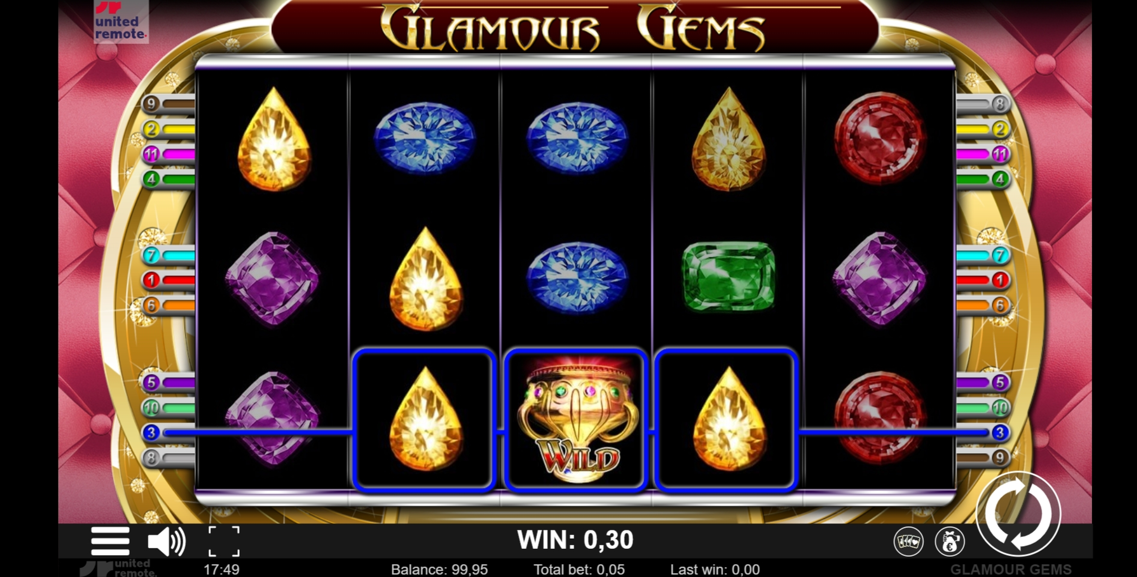 Win Money in Glamour Gems Free Slot Game by Lionline