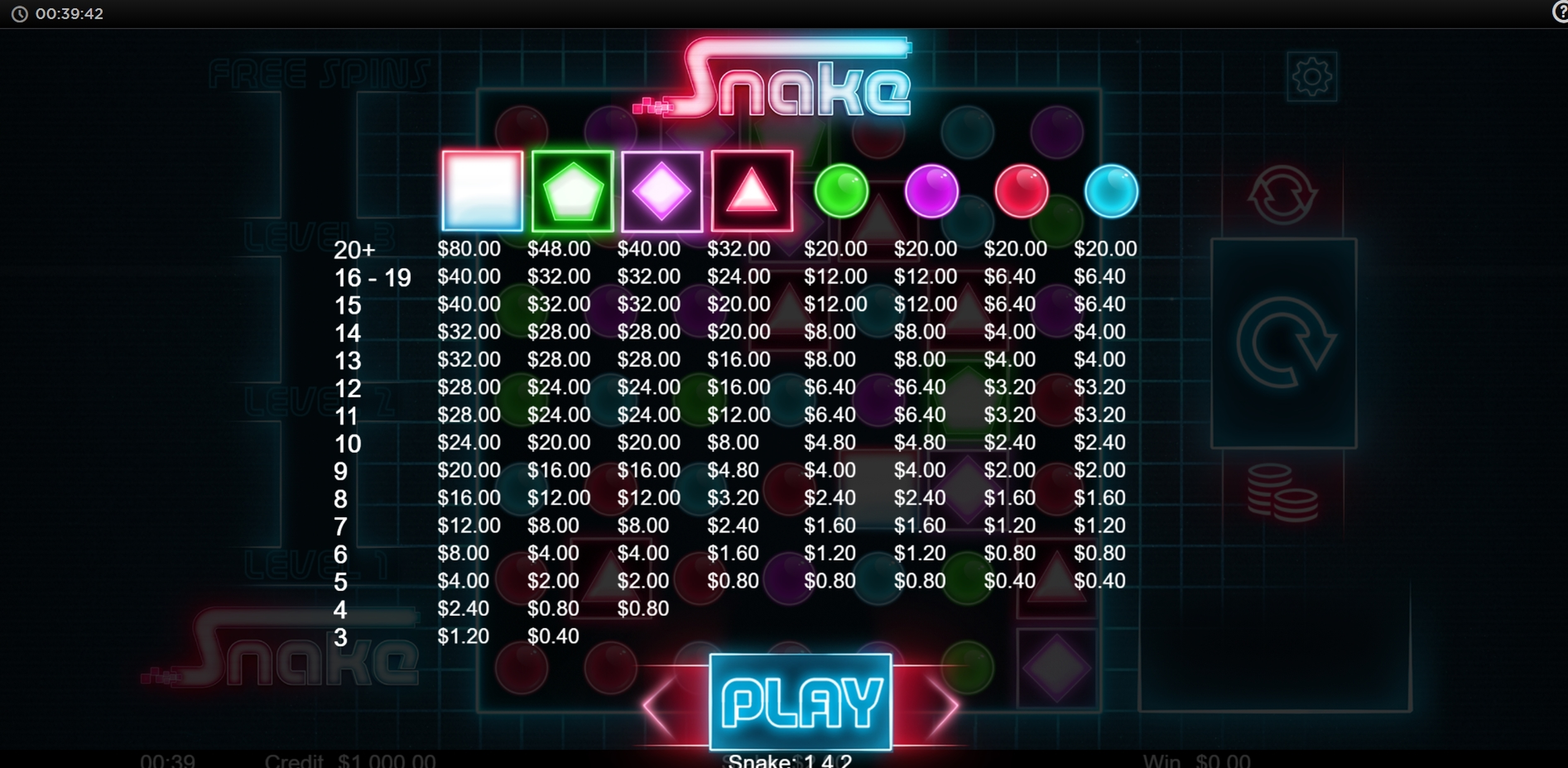 Info of Snake (Live 5) Slot Game by Live 5 Gaming