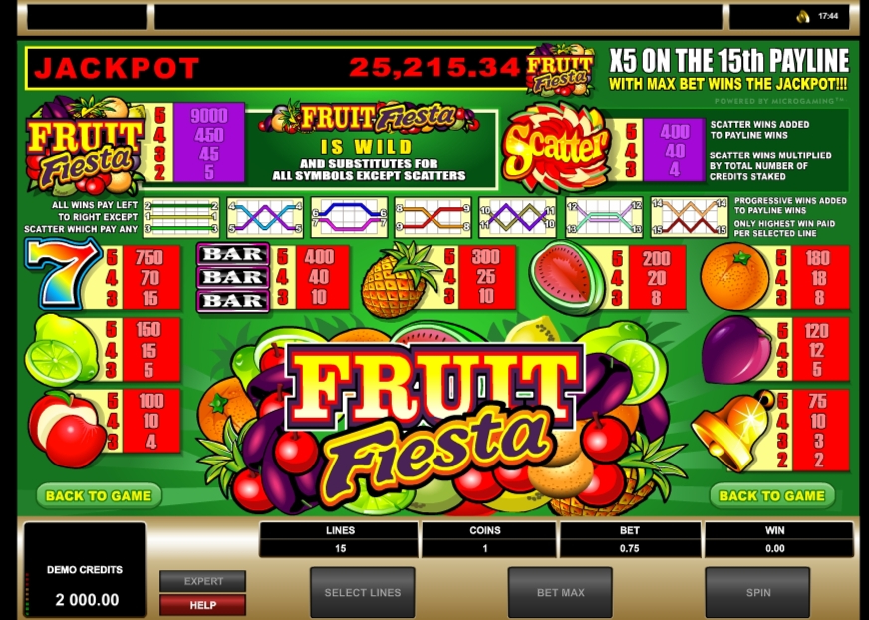 Reels in Fruit Fiesta 5 Reel Slot Game by Microgaming