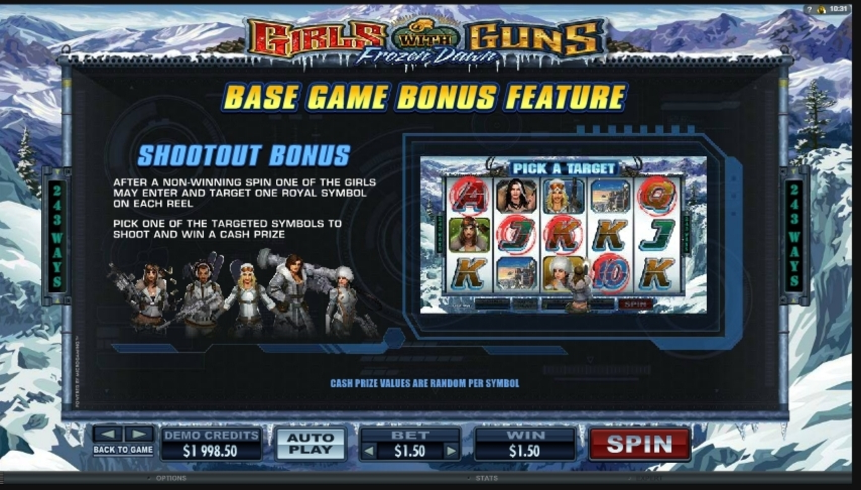 Info of Girls With Guns - Frozen Dawn Slot Game by Microgaming