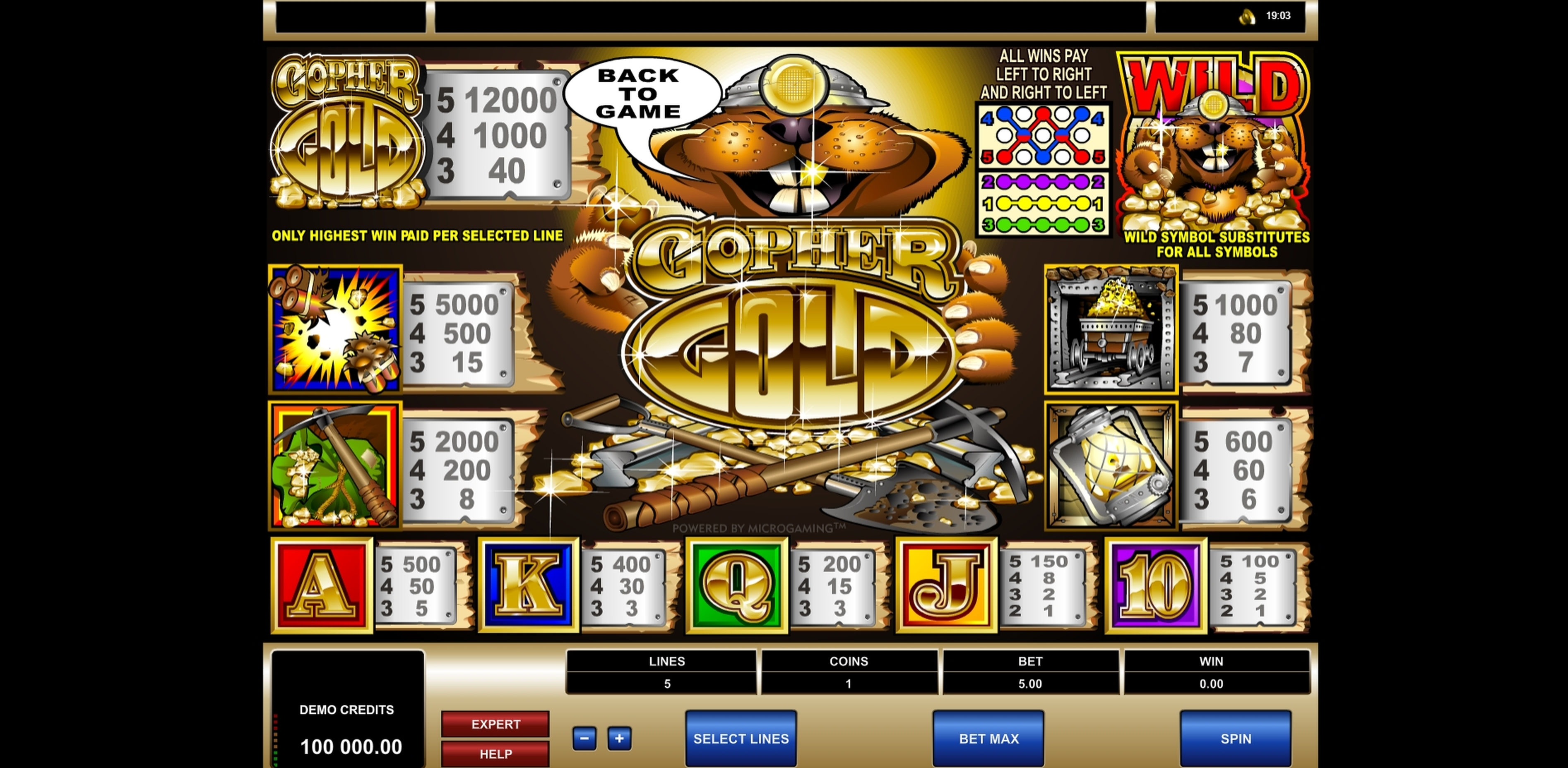 Info of Gopher Gold Slot Game by Microgaming
