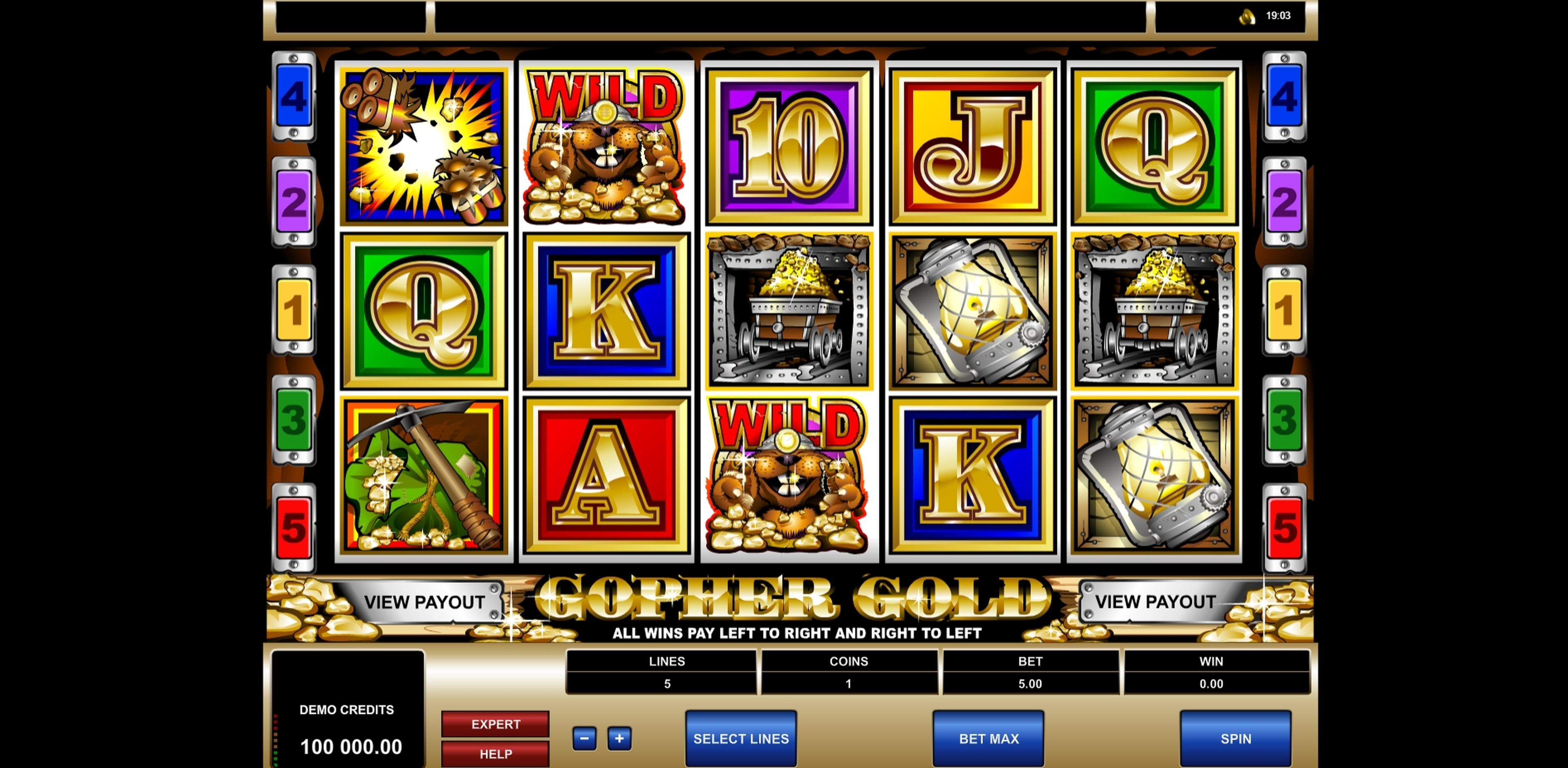 Reels in Gopher Gold Slot Game by Microgaming