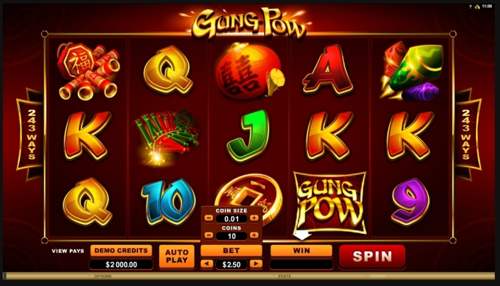 Reels in Gung Pow Slot Game by Microgaming